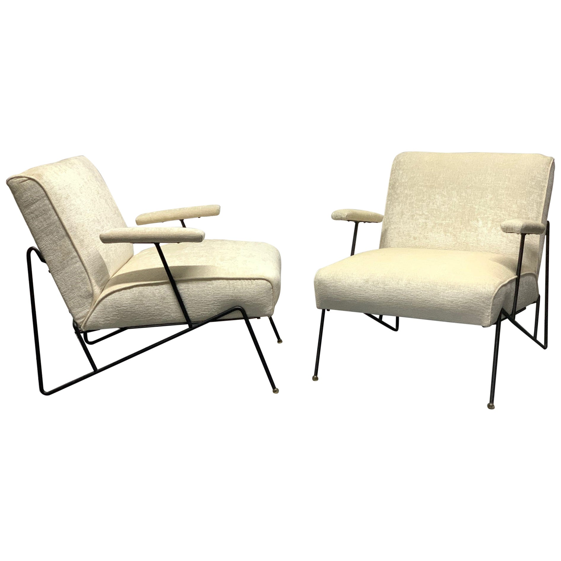 Pair of Wrought Iron Lounge Chairs by Maurizio Tempestini for Salterini
