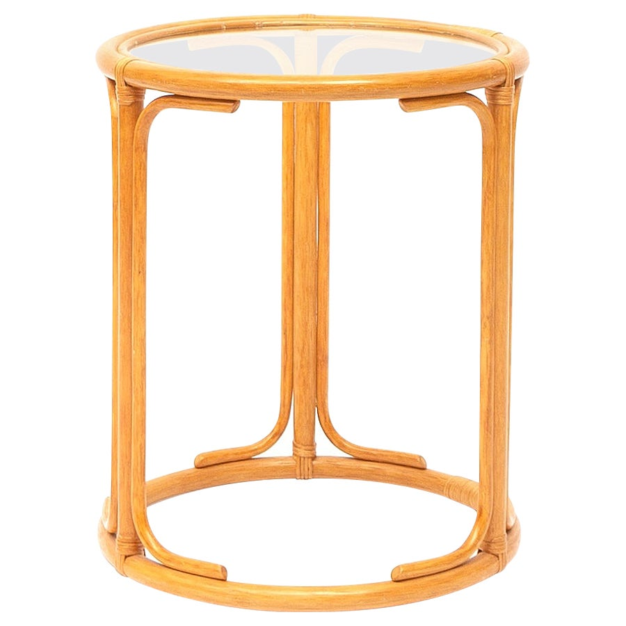 Round Wicker Rattan Side Table with Glass Top, 1970s