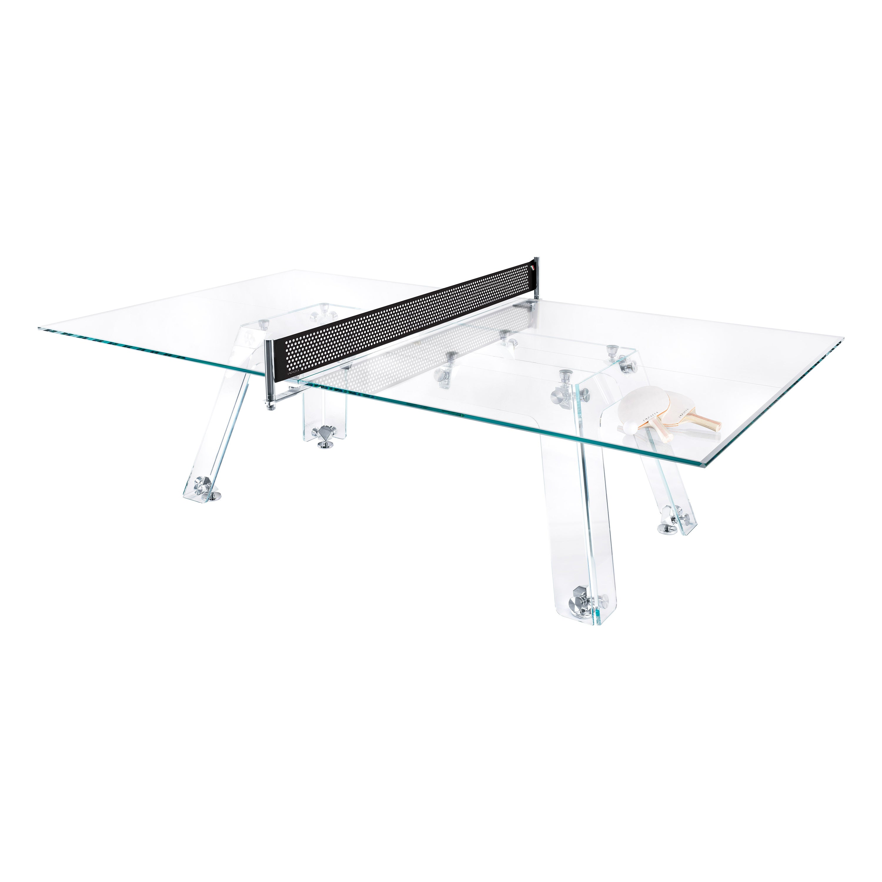 Lungolinea Chrome Edition Glass Ping Pong Table by Impatia