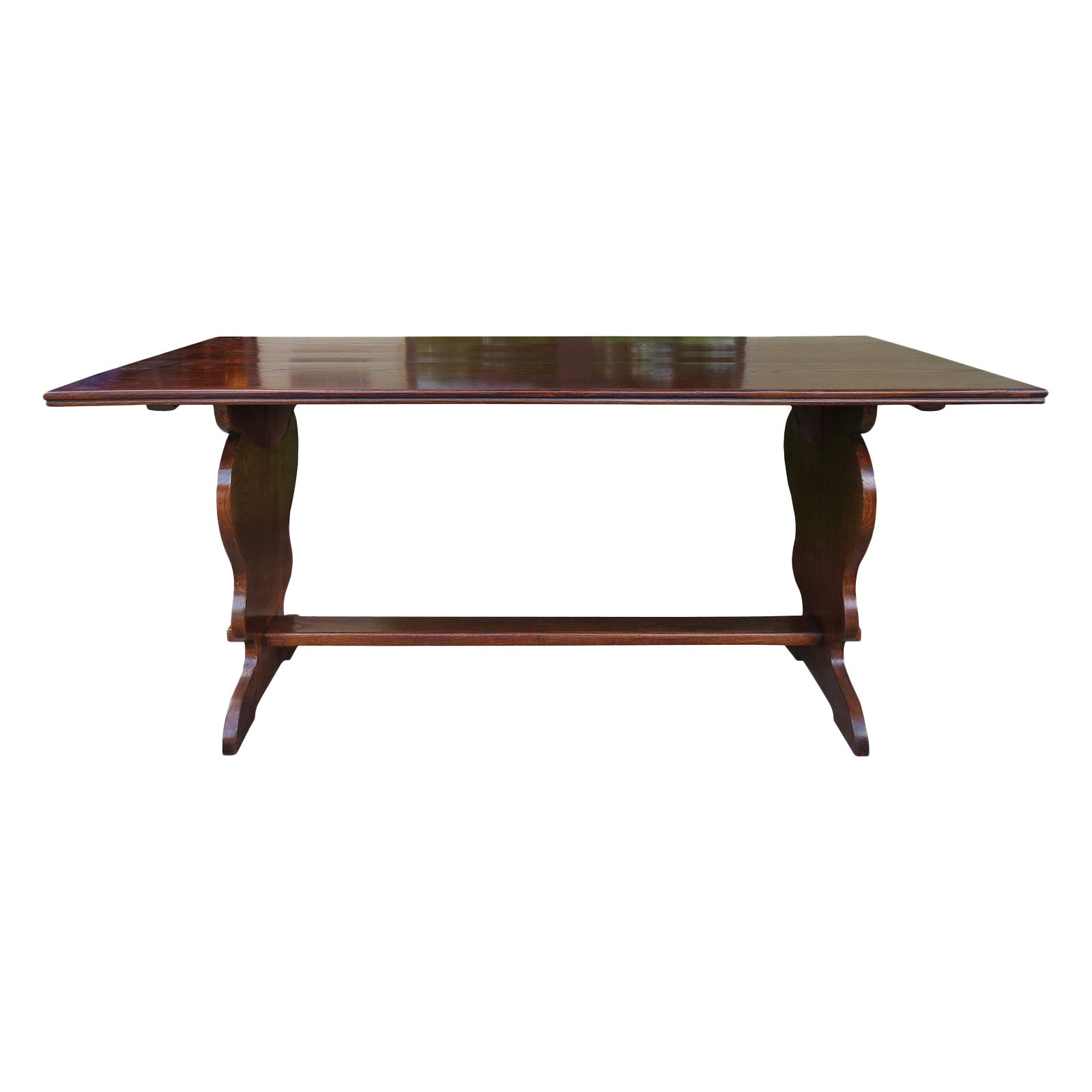 19th to Turn of the 20th Century Oak Trestle Table