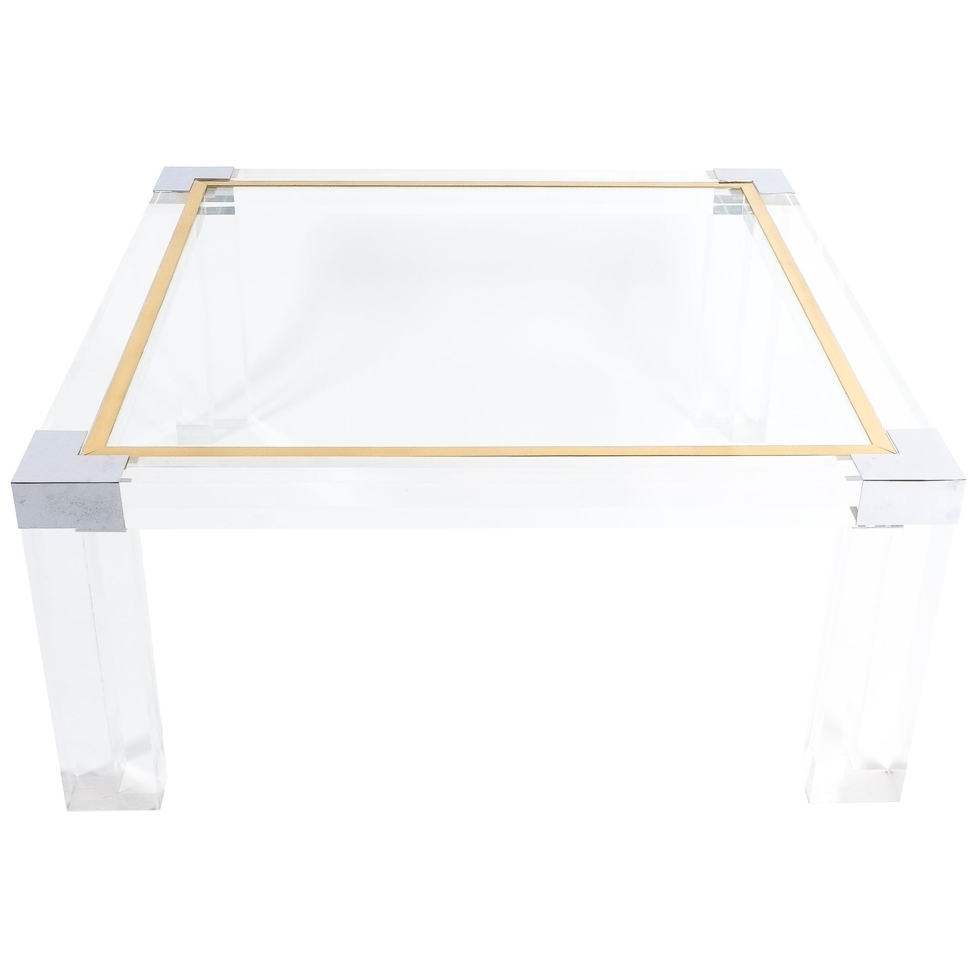 Large Lucite and Brass Coffee Table Style Charles Hollis Jones