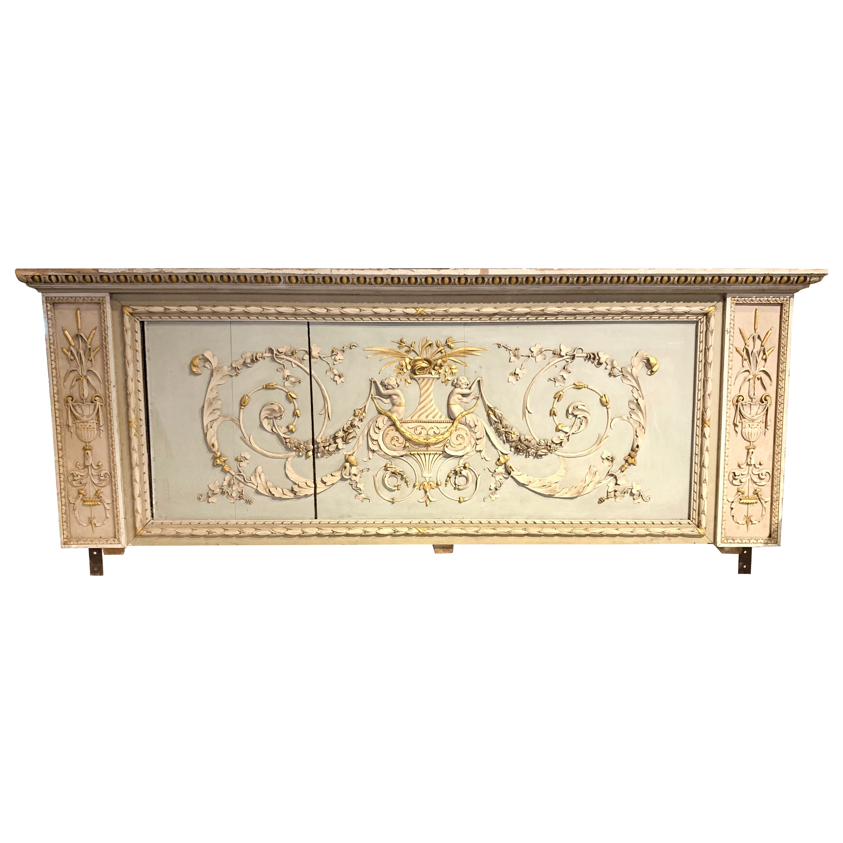 19th Century French Neoclassical Carved and Painted Panel