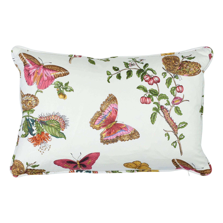 Schumacher Baudin Butterfly Chintz Blush Two-Sided Cotton Pillow
