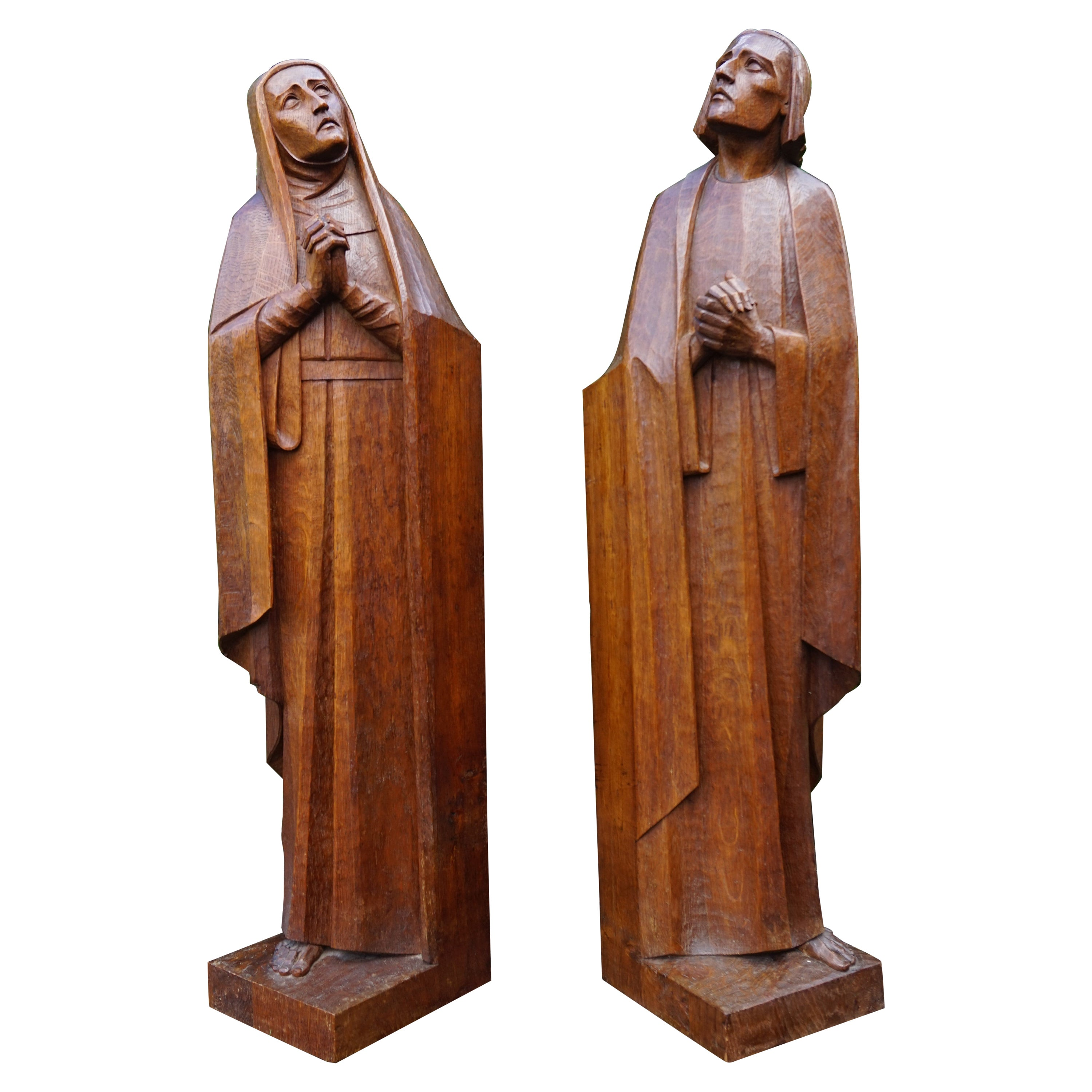Large Arts & Crafts Hand Carved Mourning Mary and Saint John Church Sculptures