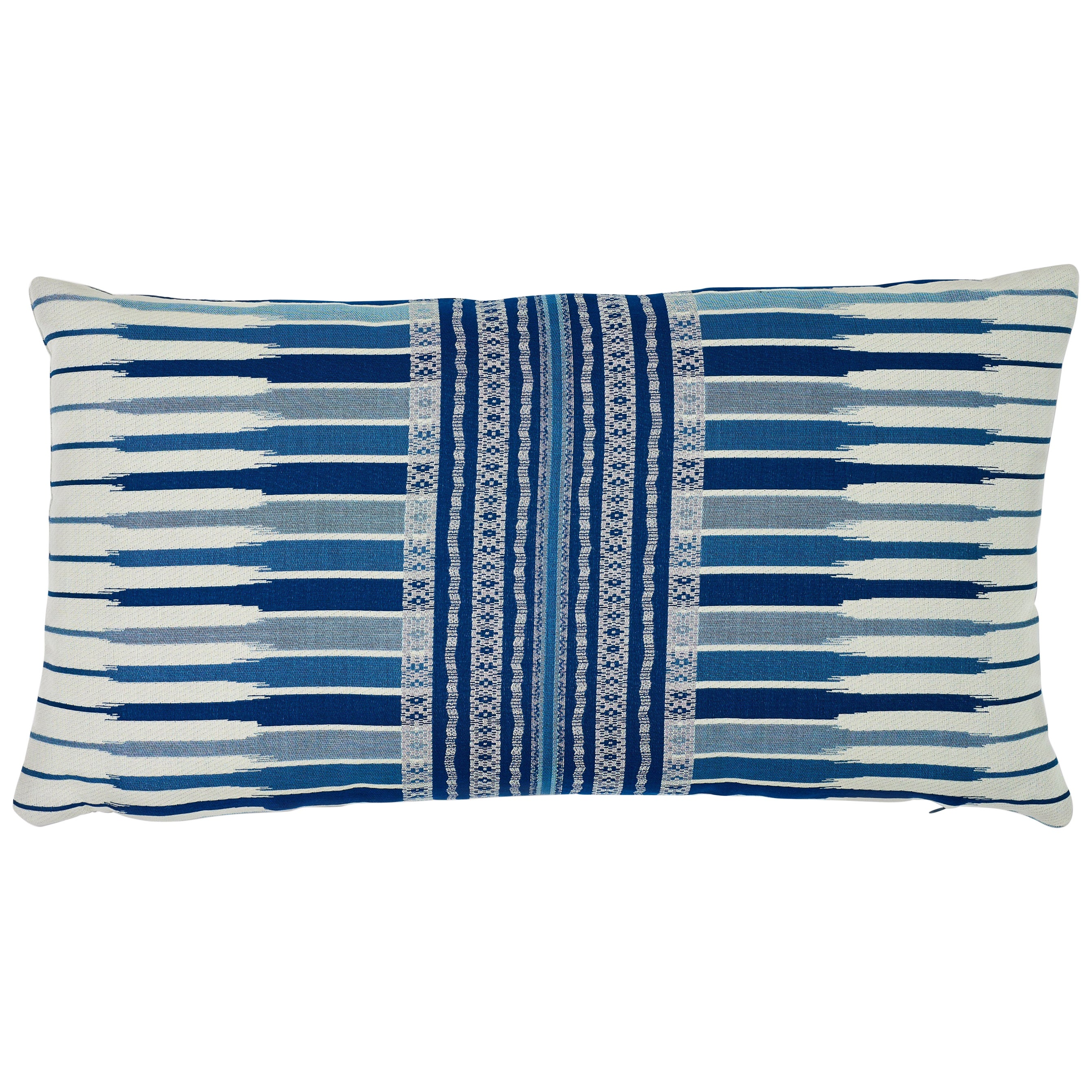 Schumacher Atchison Blue Two-Sided Cotton Lumbar Pillow