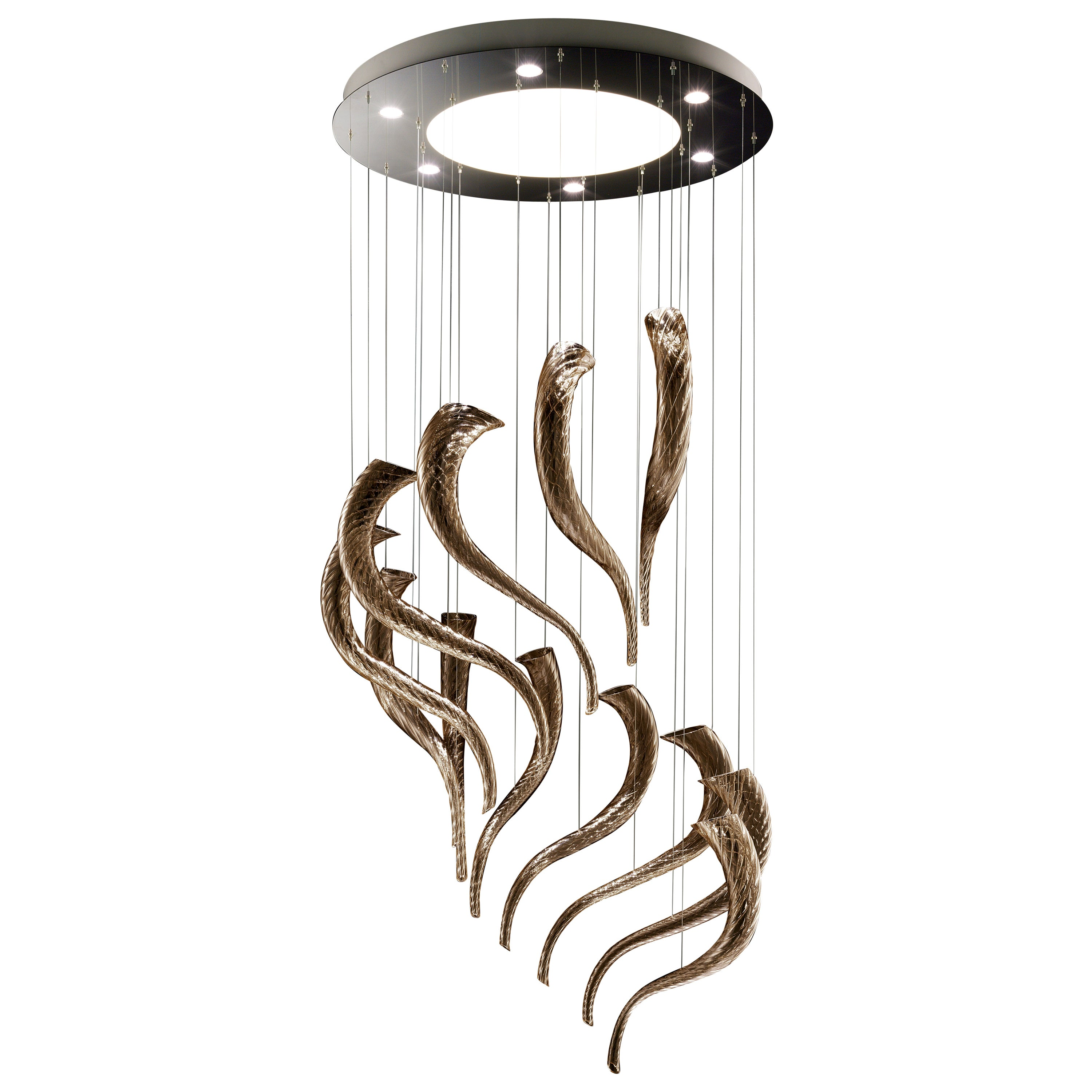 Swing7326 Suspension Lamp in Glass with Polished Chrome Finish, by Barovier&Toso