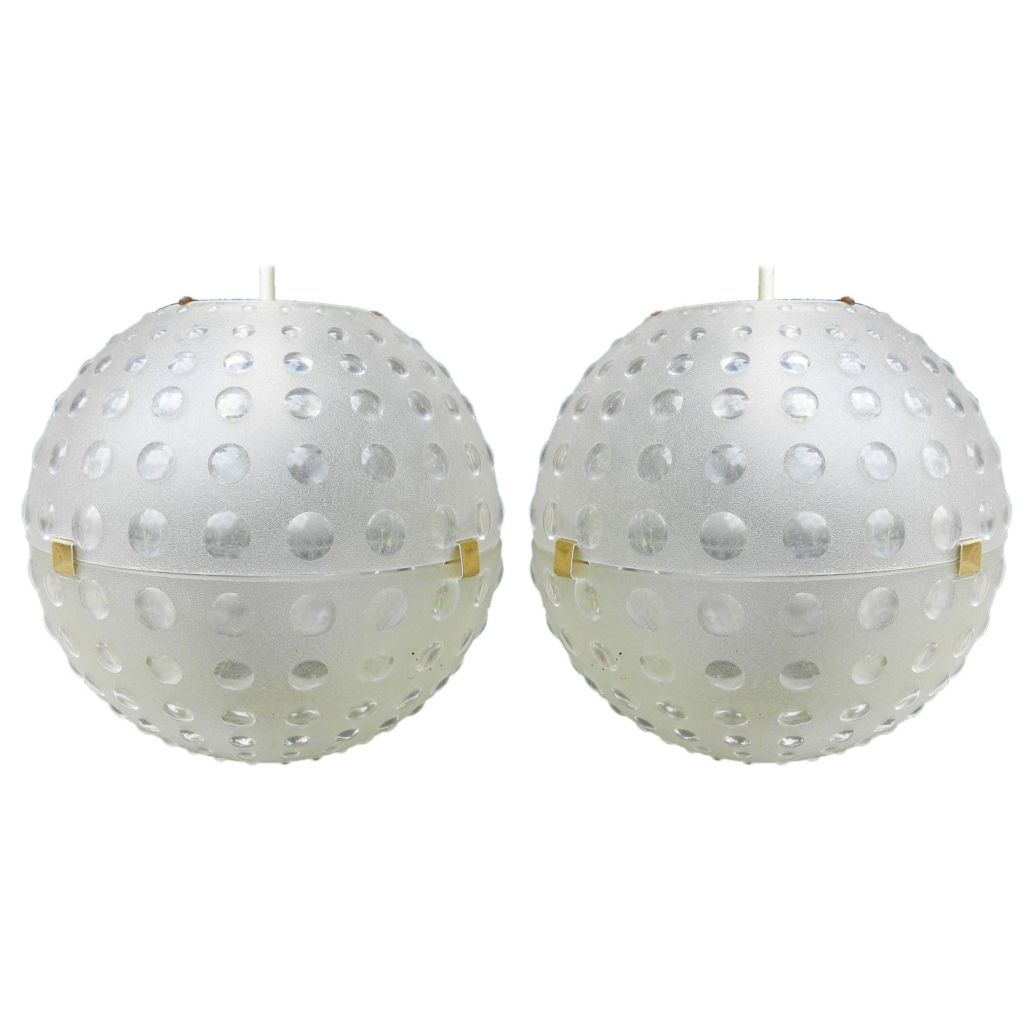 Pair of Midcentury Globe Pendant Lights Opaque Molded Plastic, circa 1960