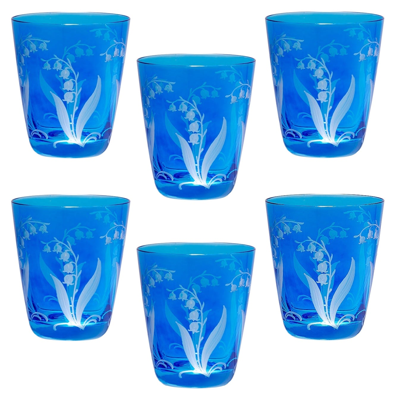 Set of Six Glass Country Style Tumbler Blue Crystal Sofina Boutique Kitzbuehel