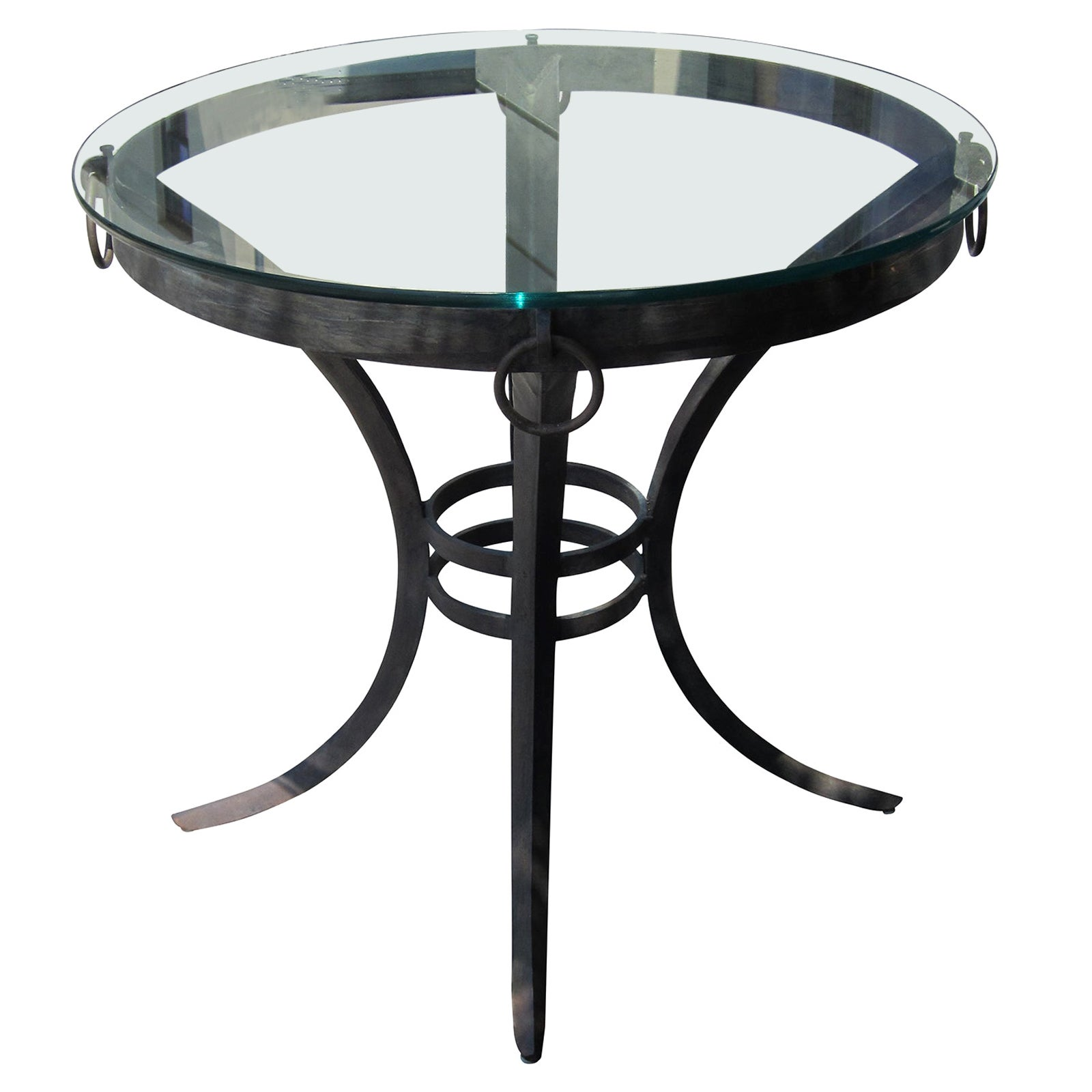 20th Century Round Iron Gueridon Table with Glass Top