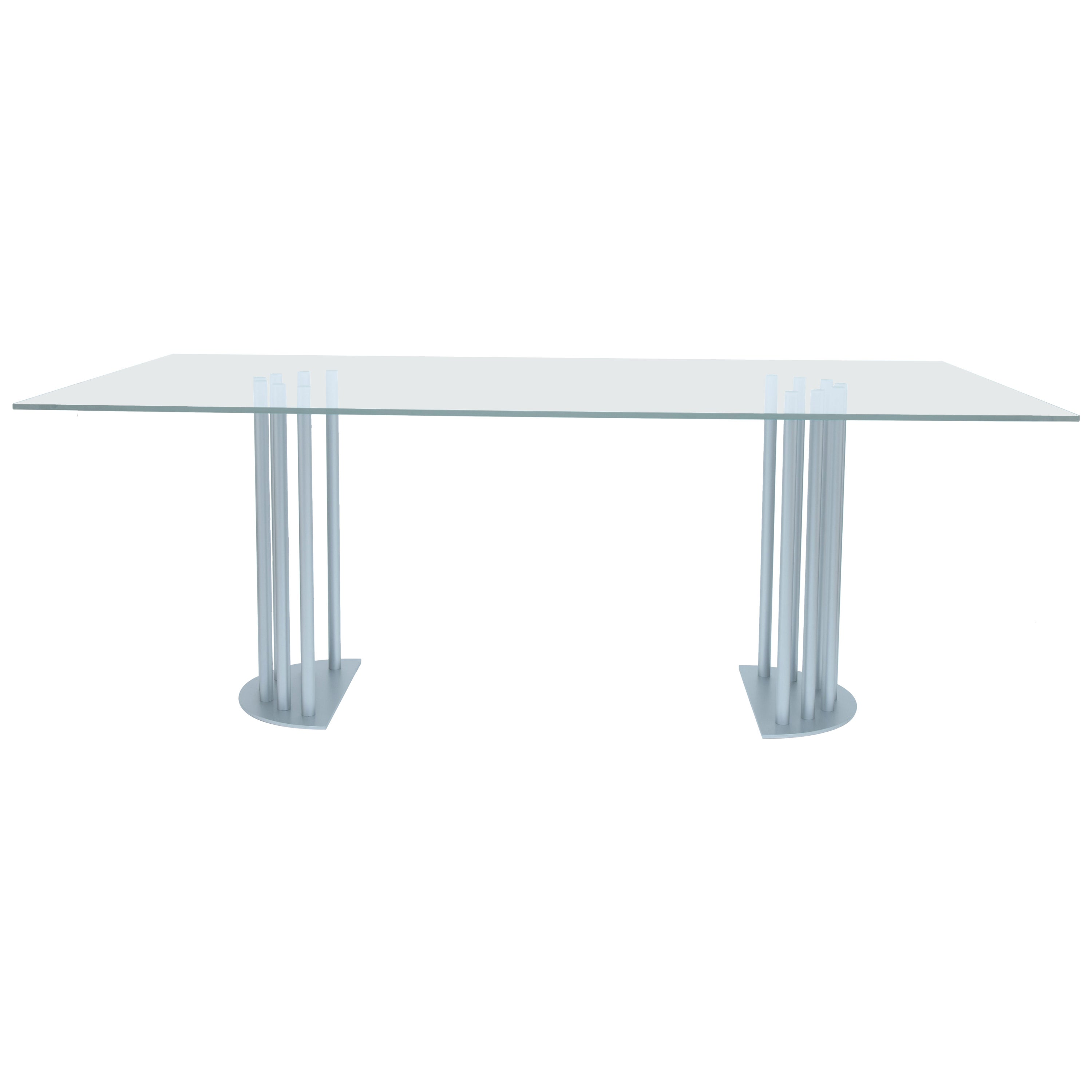 Ela Rectangular Luxury Table, Metal Half Round Base and Glass Top, Made in Italy