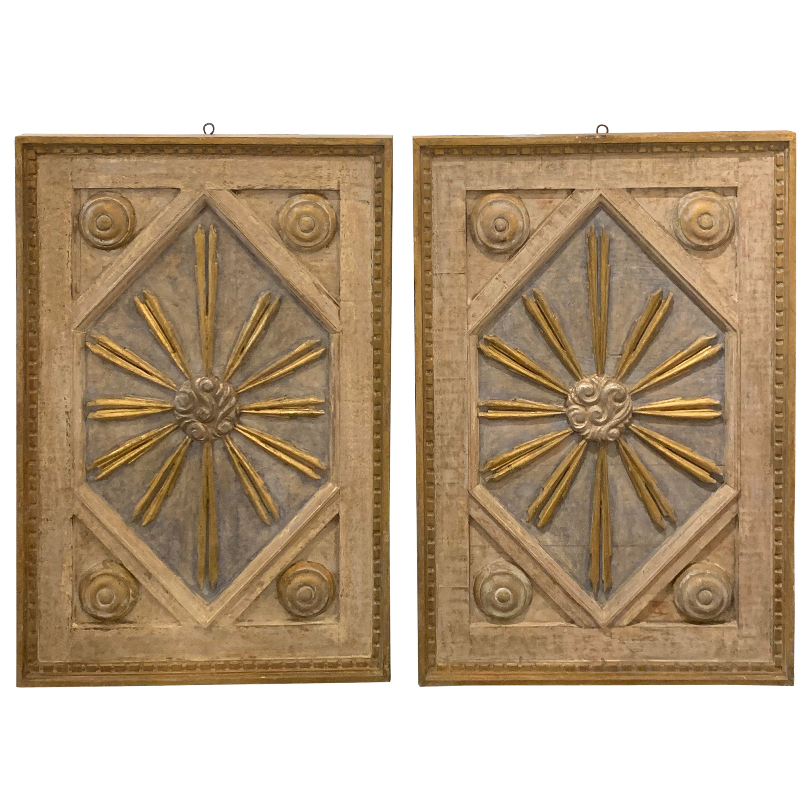 Pair of Italian Decorated Carved and Painted Panels