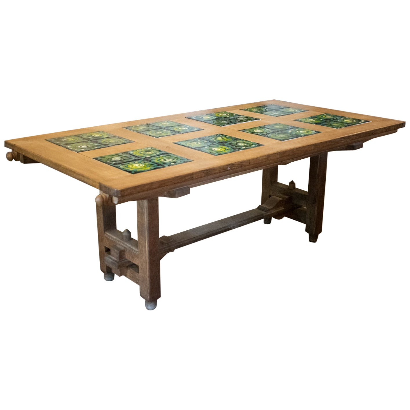 Guillerme et Chambron Oak and Tile Dining Table with Extensions, France, 1960