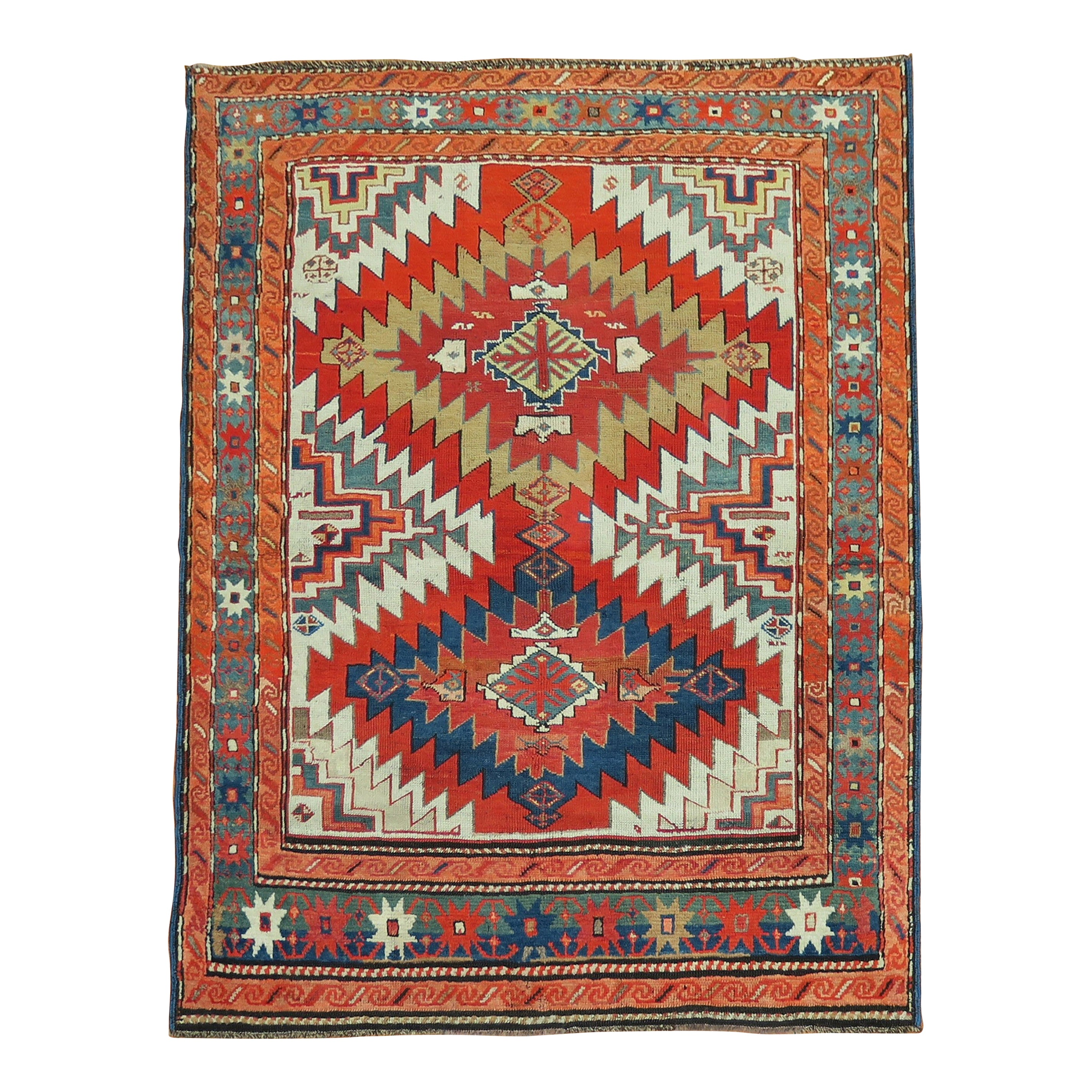 Dramatic Large Scale 20th Century Antique Russian Karabagh Square Rug