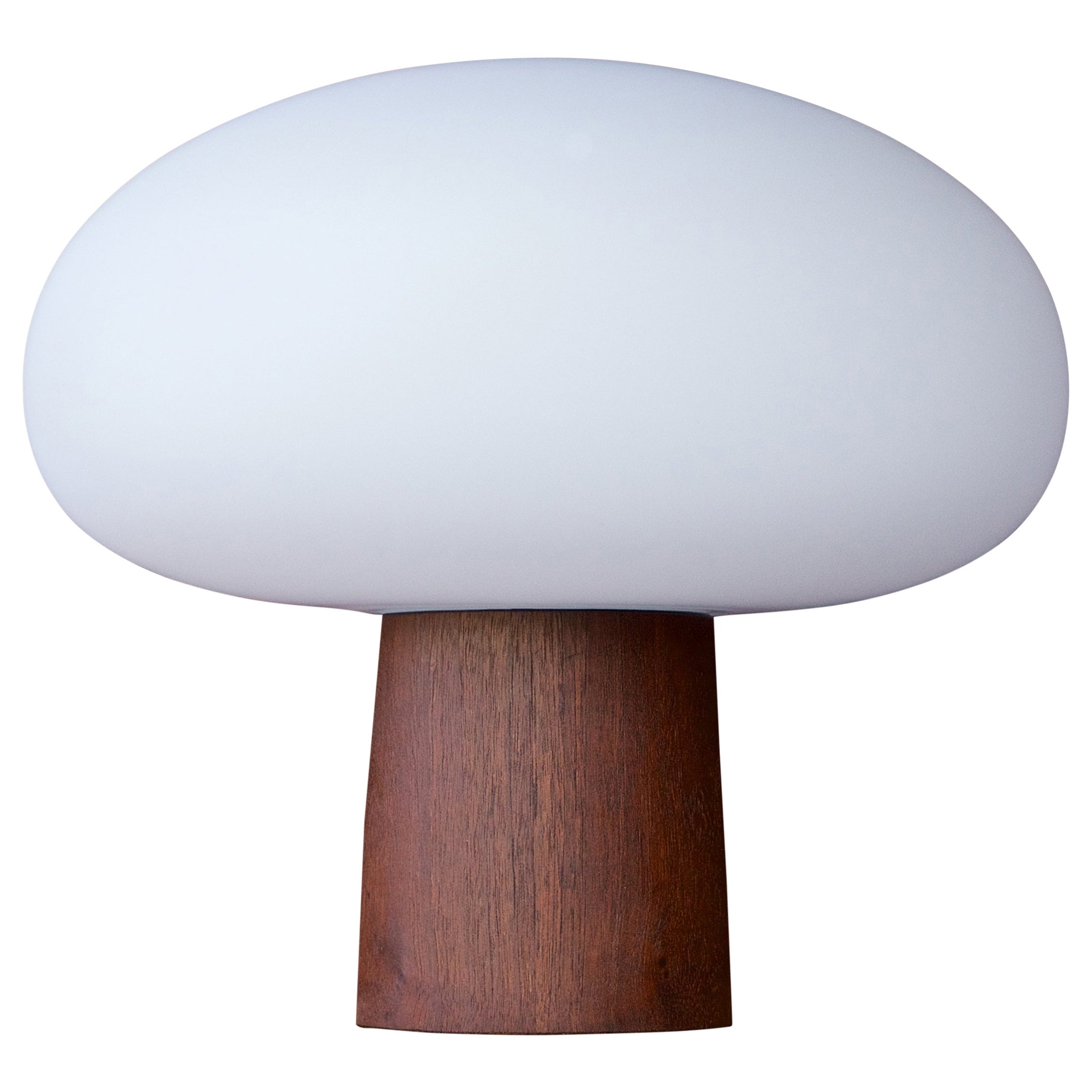 1960s Cabin Modern Laurel Walnut Glass Mushroom Table Lamp Vintage Midcentury