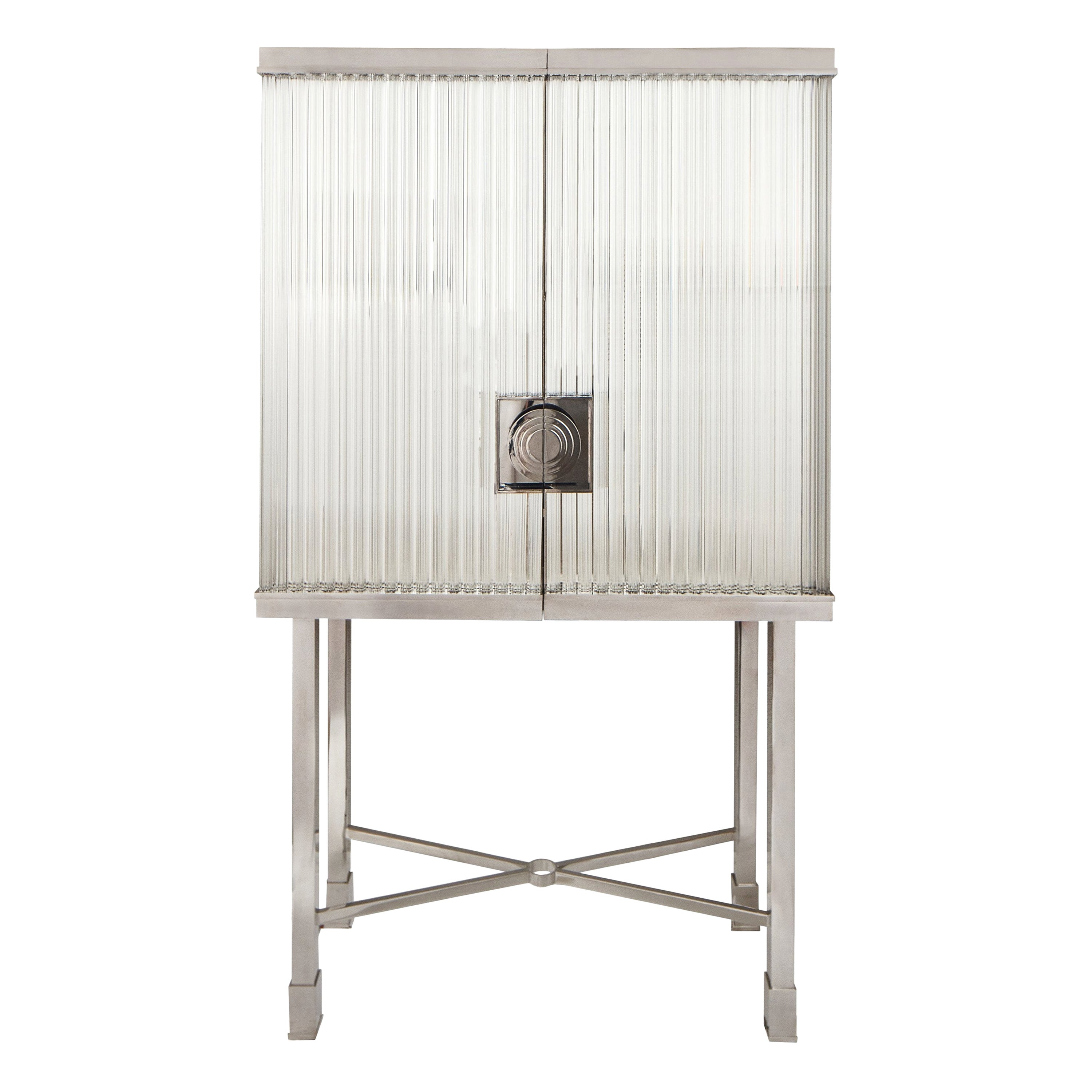 Modern Glass and Steel Dry Bar or Cocktail and Drinks Cabinet, Customizable