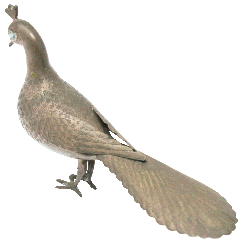 Patinated Metal Vintage Peacock Figurine, India