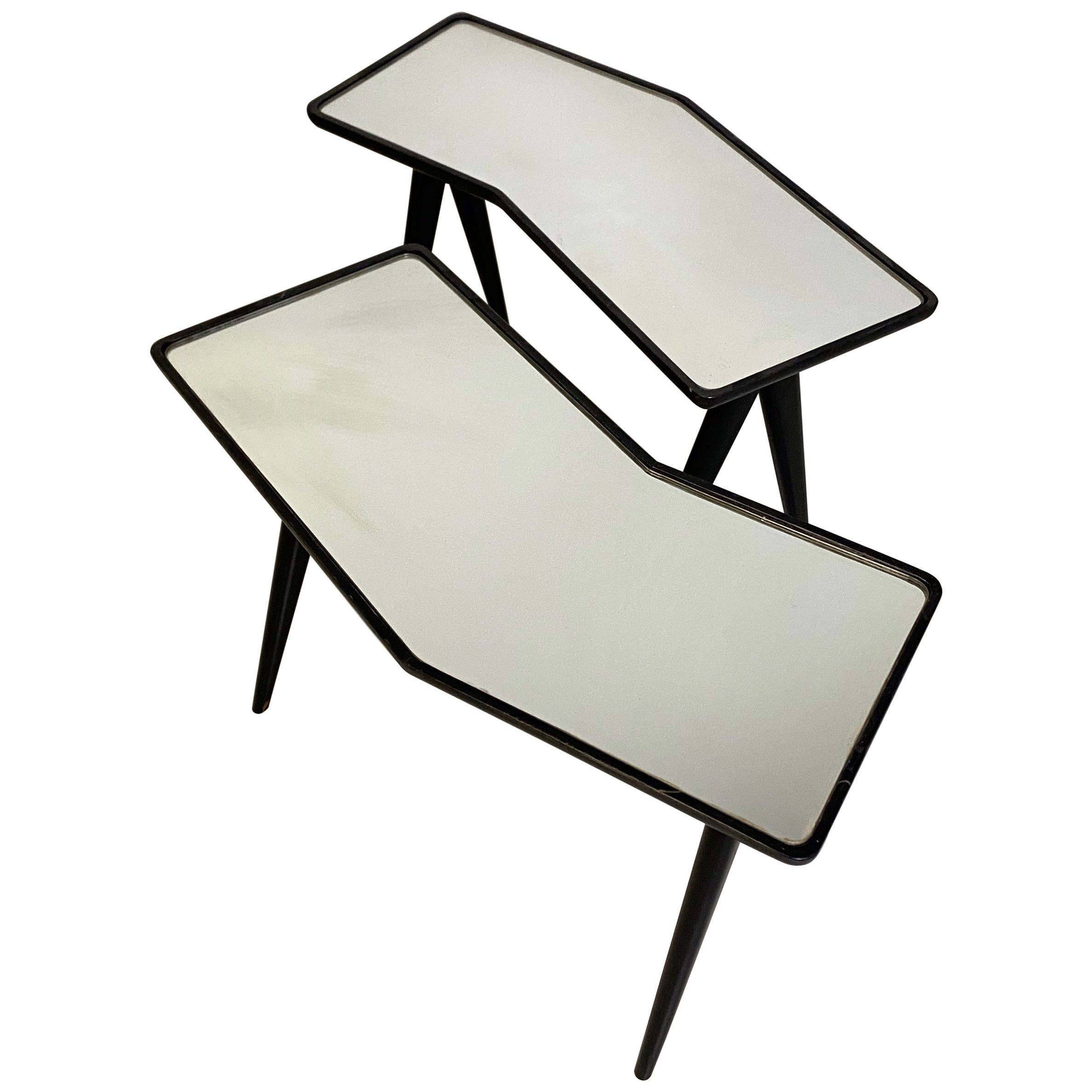 Gio Ponti Pair of black lacquered Walnut Side Tables Mirrored Glass Tops