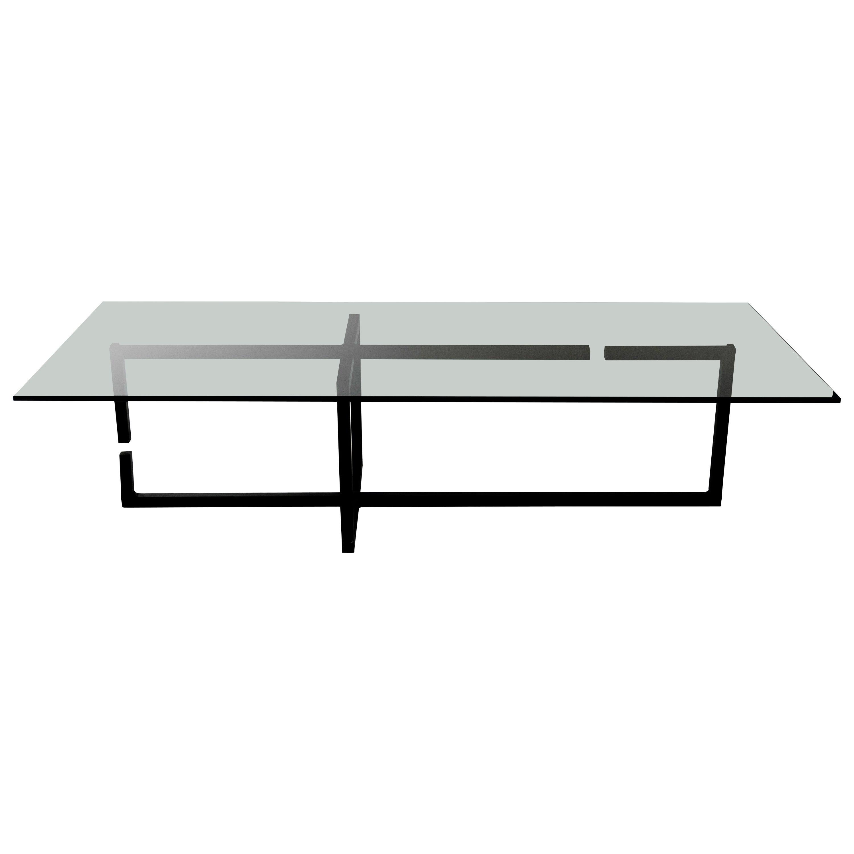 Coffee Table Modern Dynamic Gap Blackened Steel Waxed Finish Smoked Grey Glass