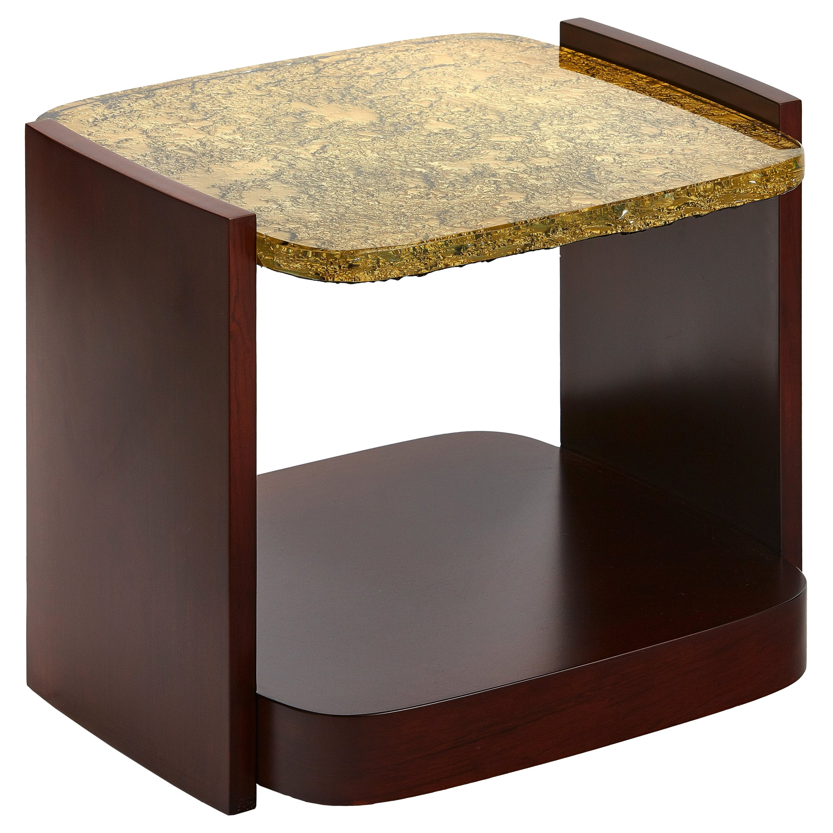 Small, Modern Side Table with Cast Glass Top and Veneered Sides