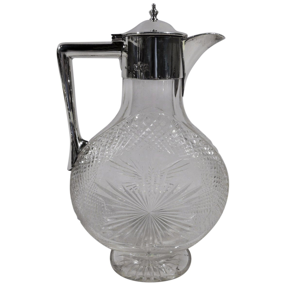 Antique English Victorian Sterling Silver and Cut-Glass Moon Decanter