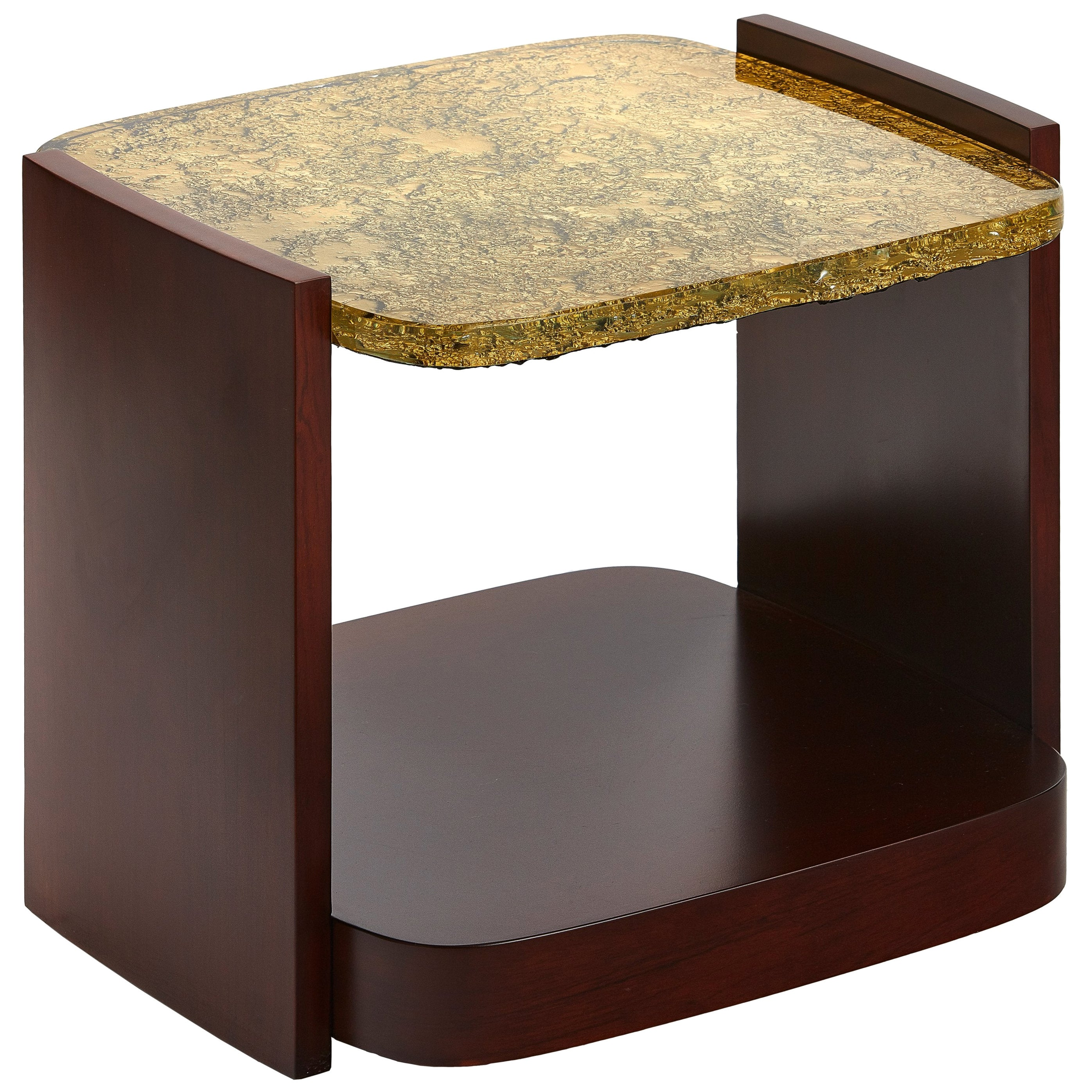 Small, Modern Side Table with Cast Glass Top and Veneered Sides, Customizable