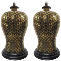 Pair of Asian Ceramic Urn Lamps