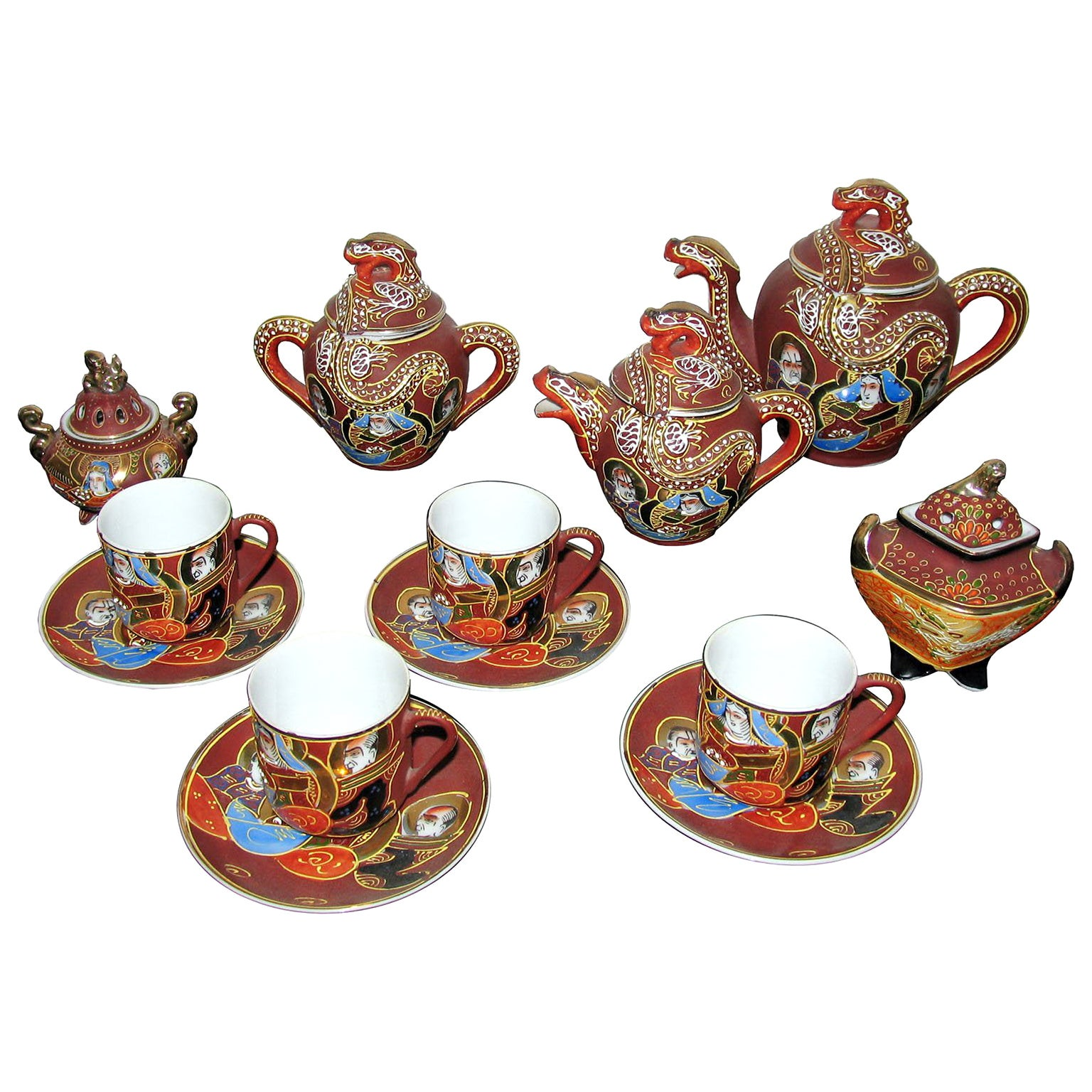 Midcentury Japanese Satsuma Lithophane Geisha Eggshell Fine Porcelain Tea Set