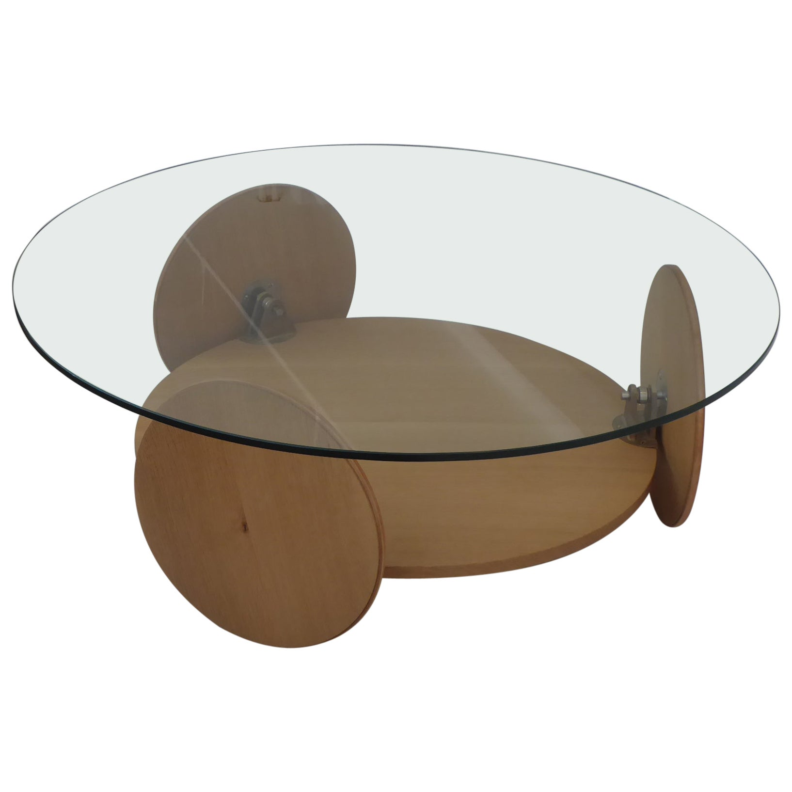 Round Wood and Glass Coffee Table with Shelf