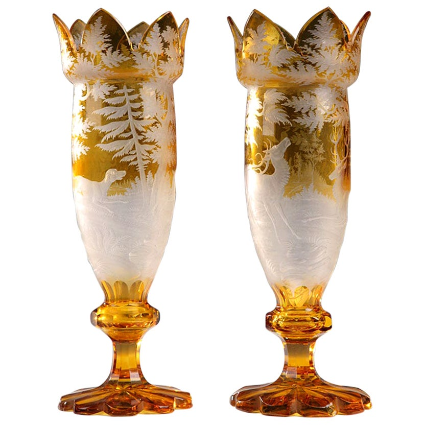 Pair of 19th Century Yellow Bohemian Crystal Vases