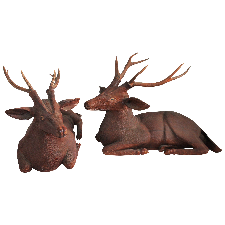 Pair of Carved Wood Folk Art Deer