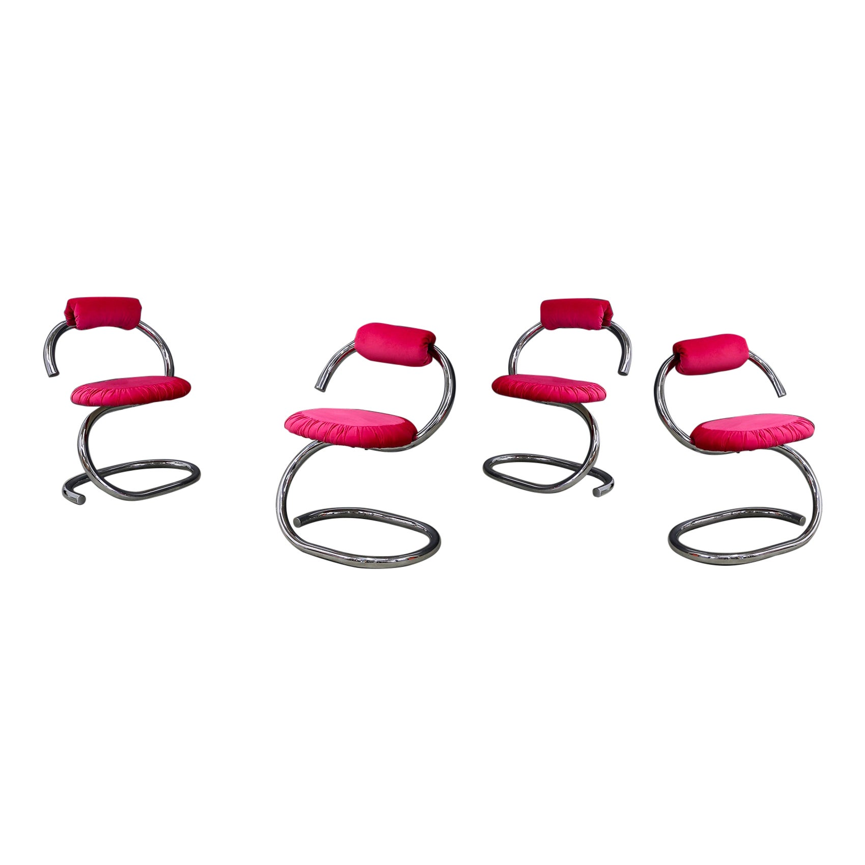 """Set of Four Midcentury Chair by Giotto Stoppino Series """"Cobra"""" Pink, 1970s"""