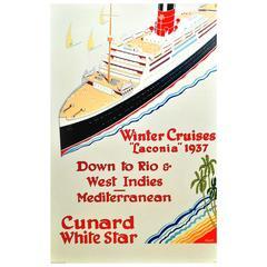 Original Vintage Art Deco Poster, Cunard White Star Winter Cruises Laconia 1937