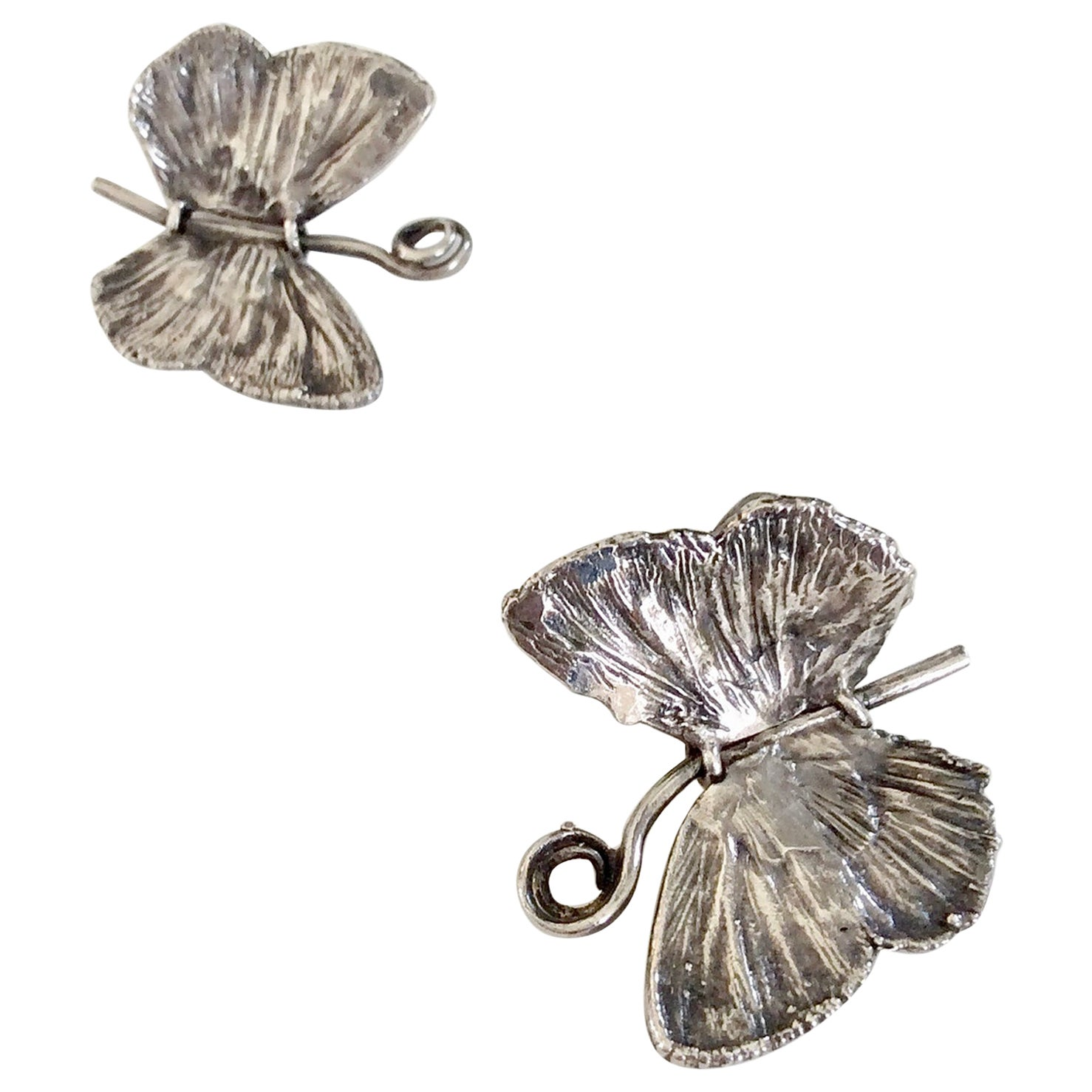 Claude Lalanne Butterfly Silver Earrings, 1988, Artcurial Edition, Paris