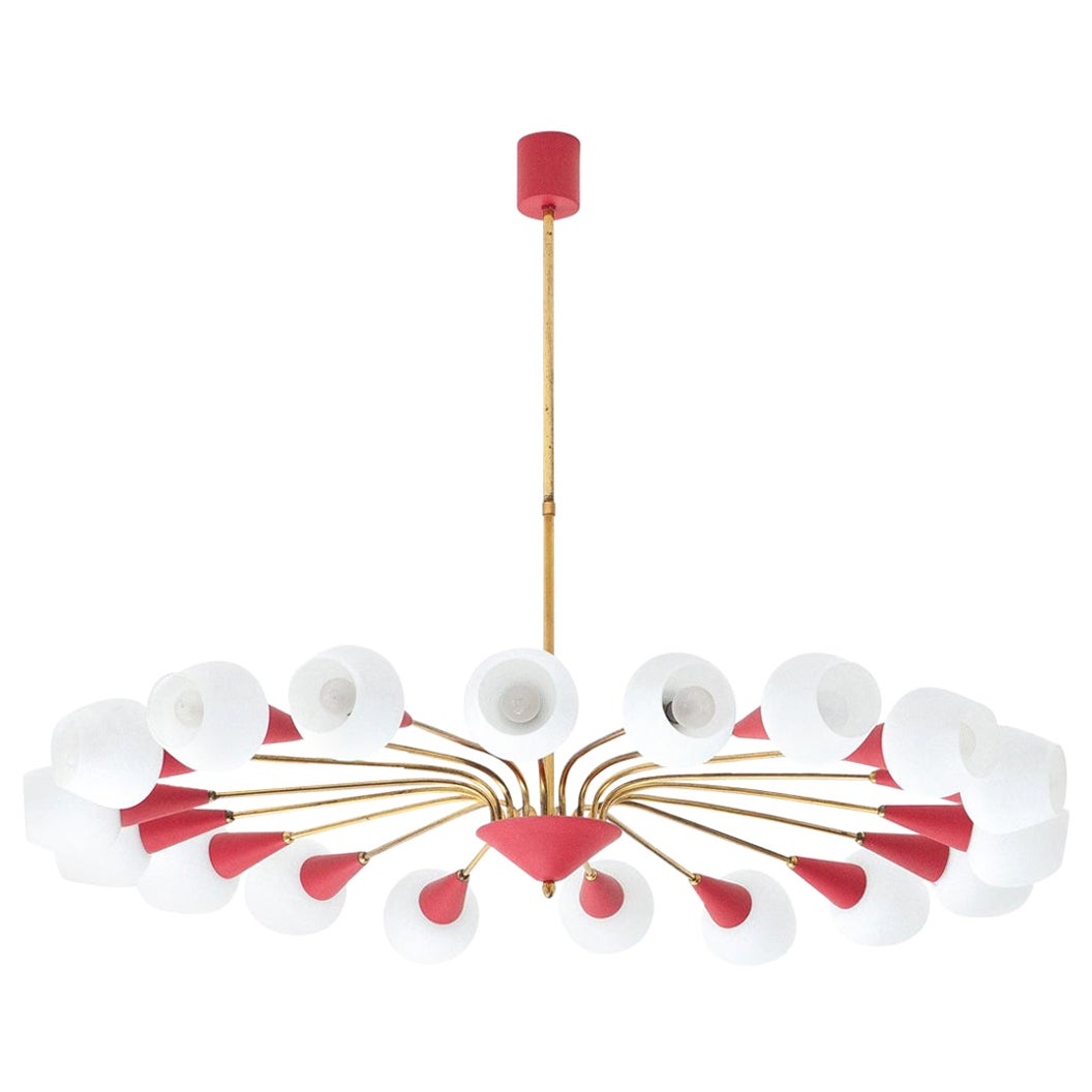 Large Italian 18 Arms Opaline Glass and Brass Spider Chandelier, 1950s