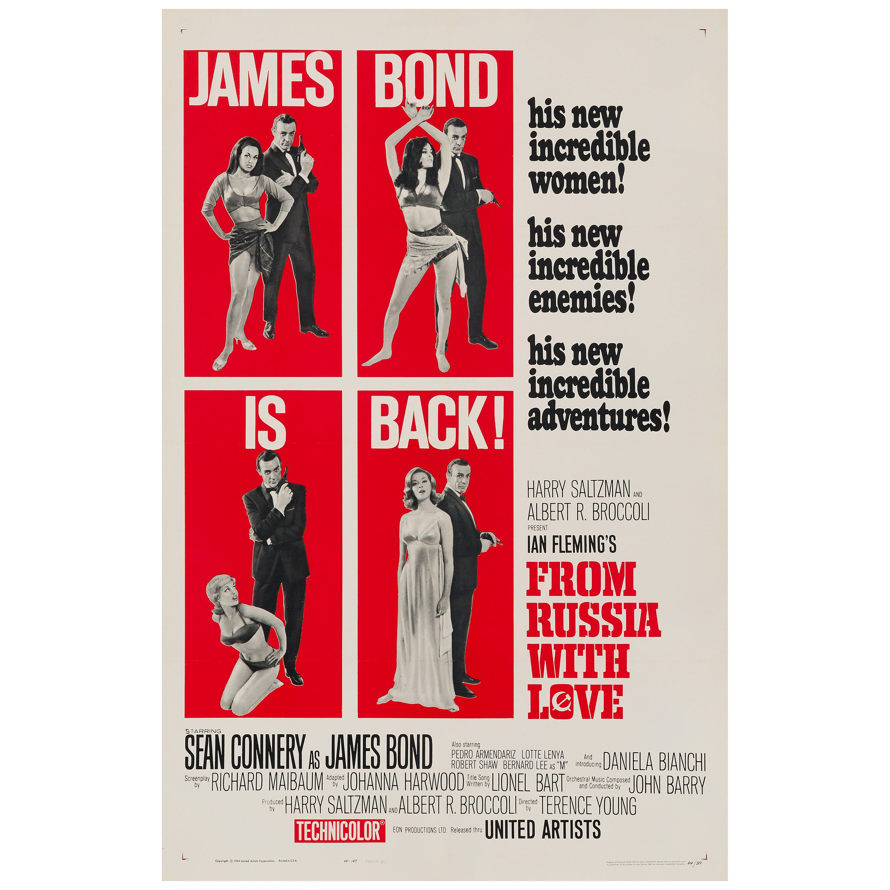 James Bond 'From Russia with Love' Original US One Sheet Movie Poster, 1964