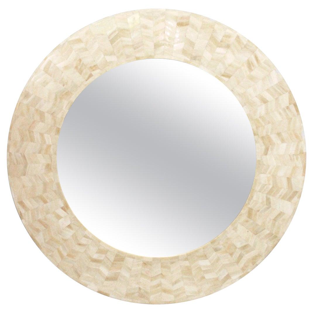 Round Mirror With Bone Marquetry, Radiance Mirror