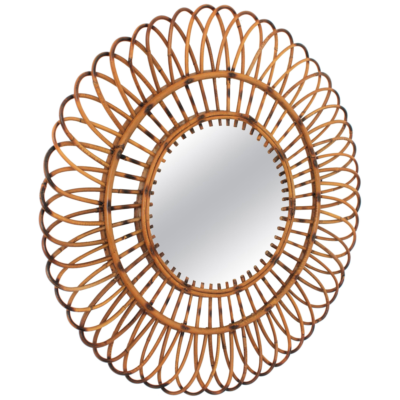 Spanish Modernist Mediterranean Rattan Sunburst Mirror, 1960s