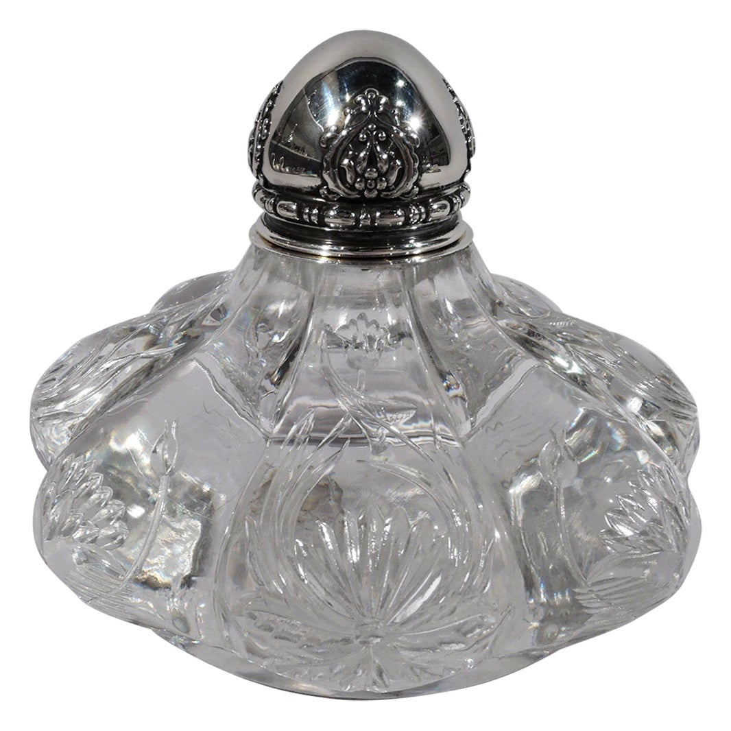 Tiffany & Co. Art Nouveau Sterling Silver and Engraved Glass Inkwell