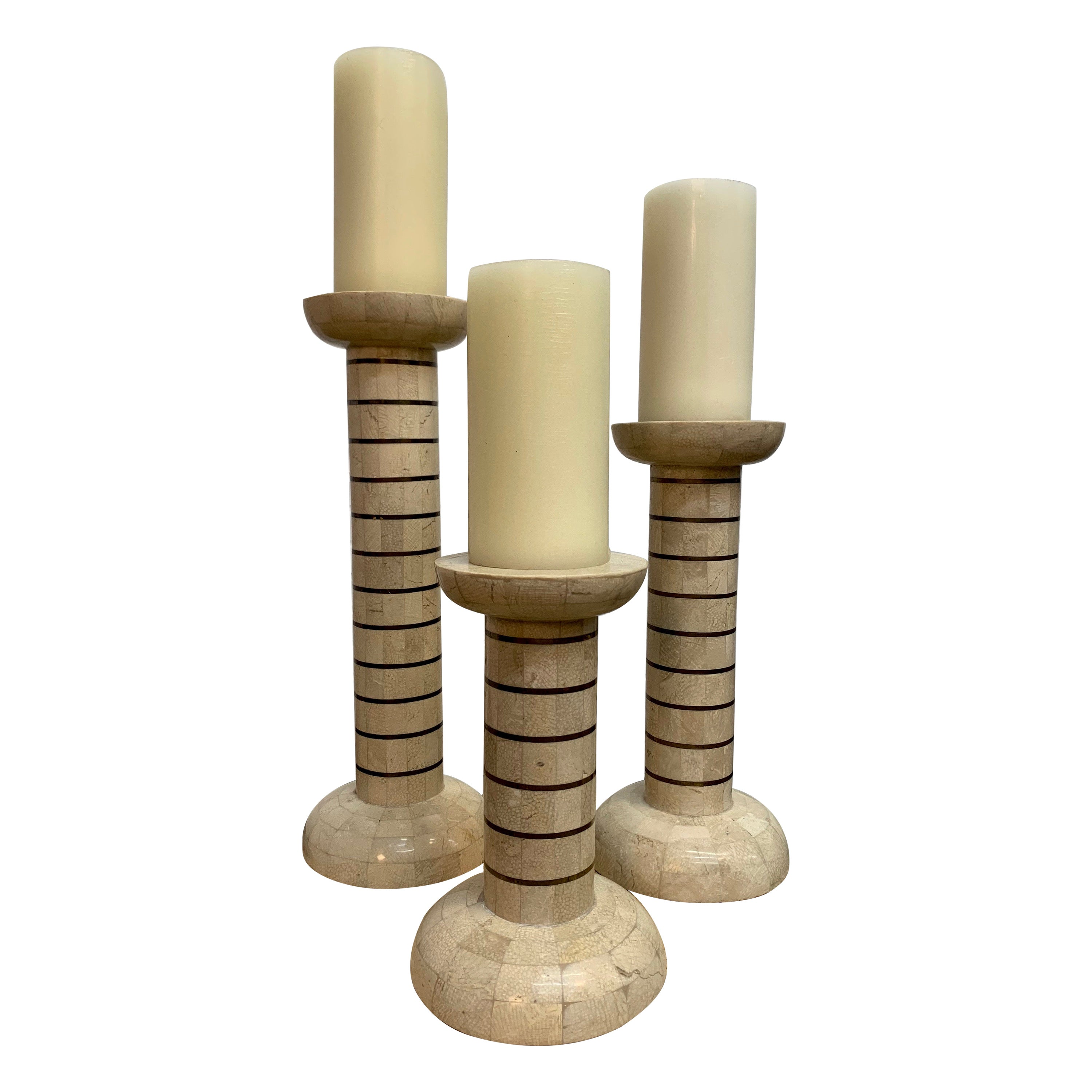 Tessellated Stone and Brass Candlesticks