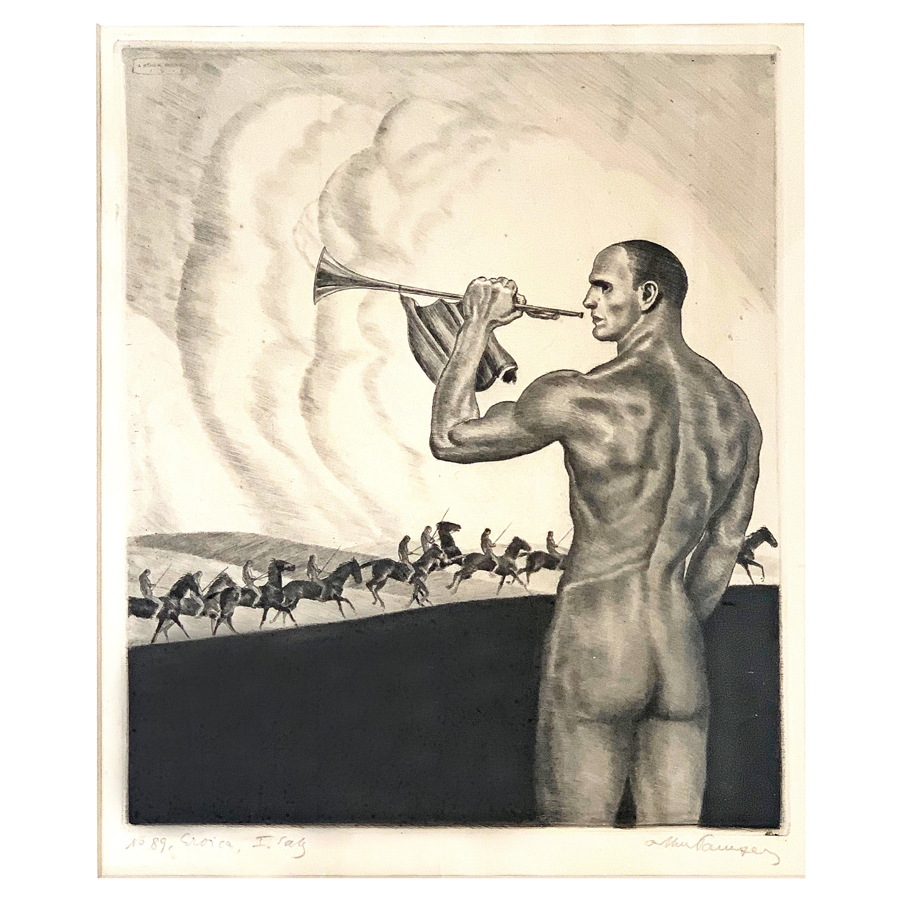 """""""Eroica,"""" Rare Print with Nude Male and Beethoven Reference, World War I Era"""