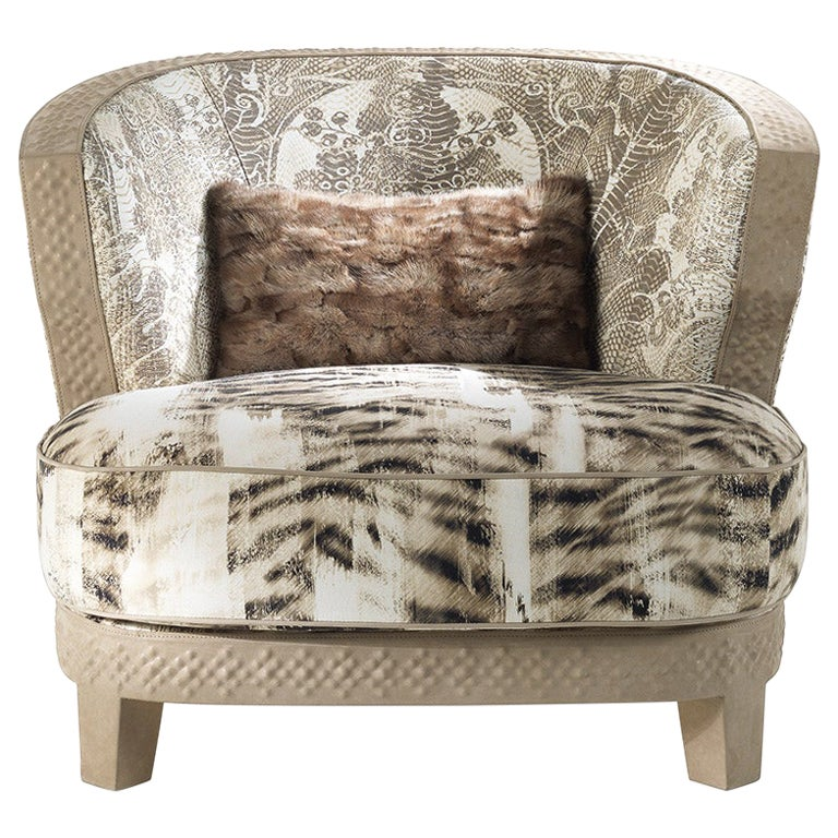 Nail Armchair in Print Fabric and Leather by Roberto Cavalli Home Interiors