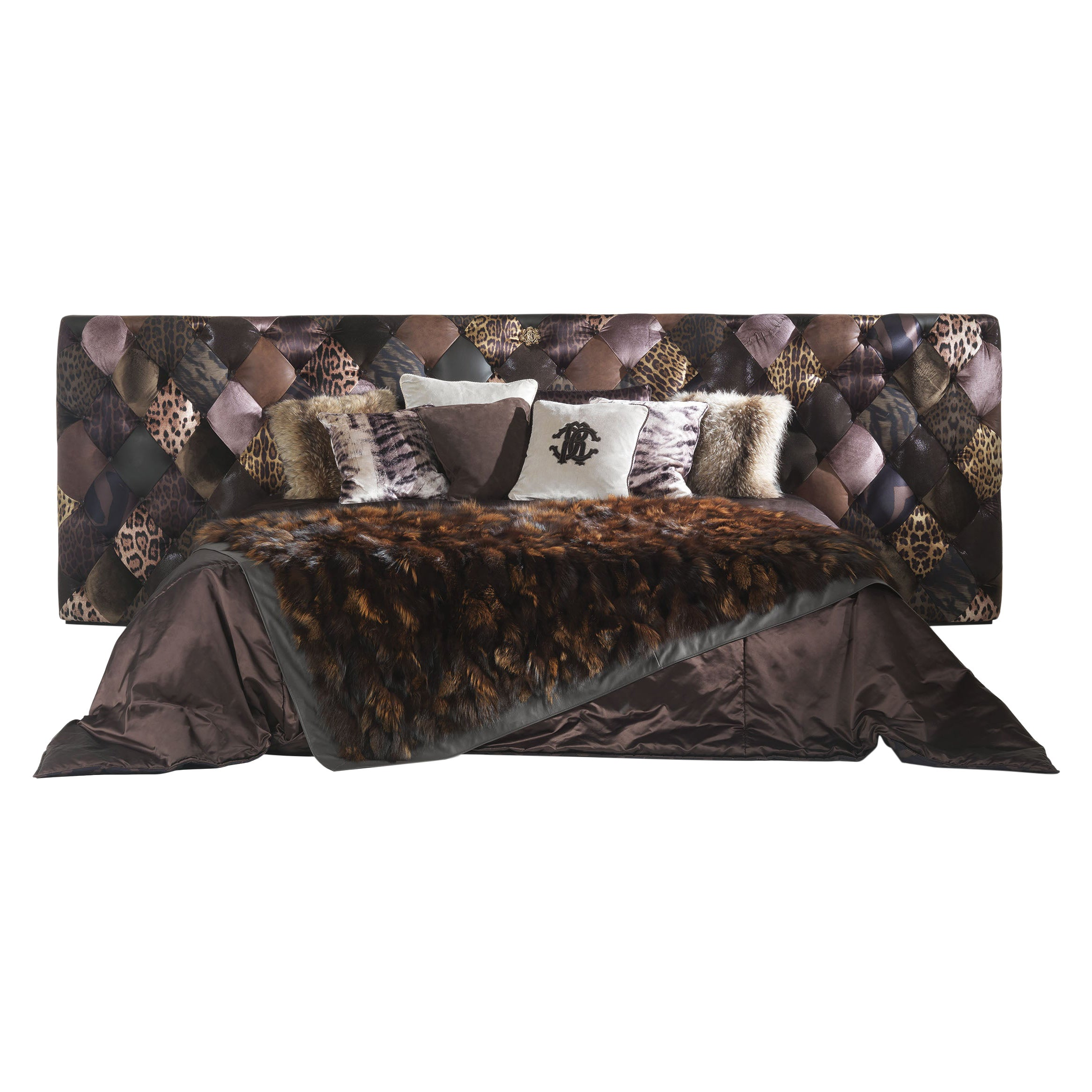 Limbo Bed in Dark Patchwork Pattern by Roberto Cavalli Home Interiors