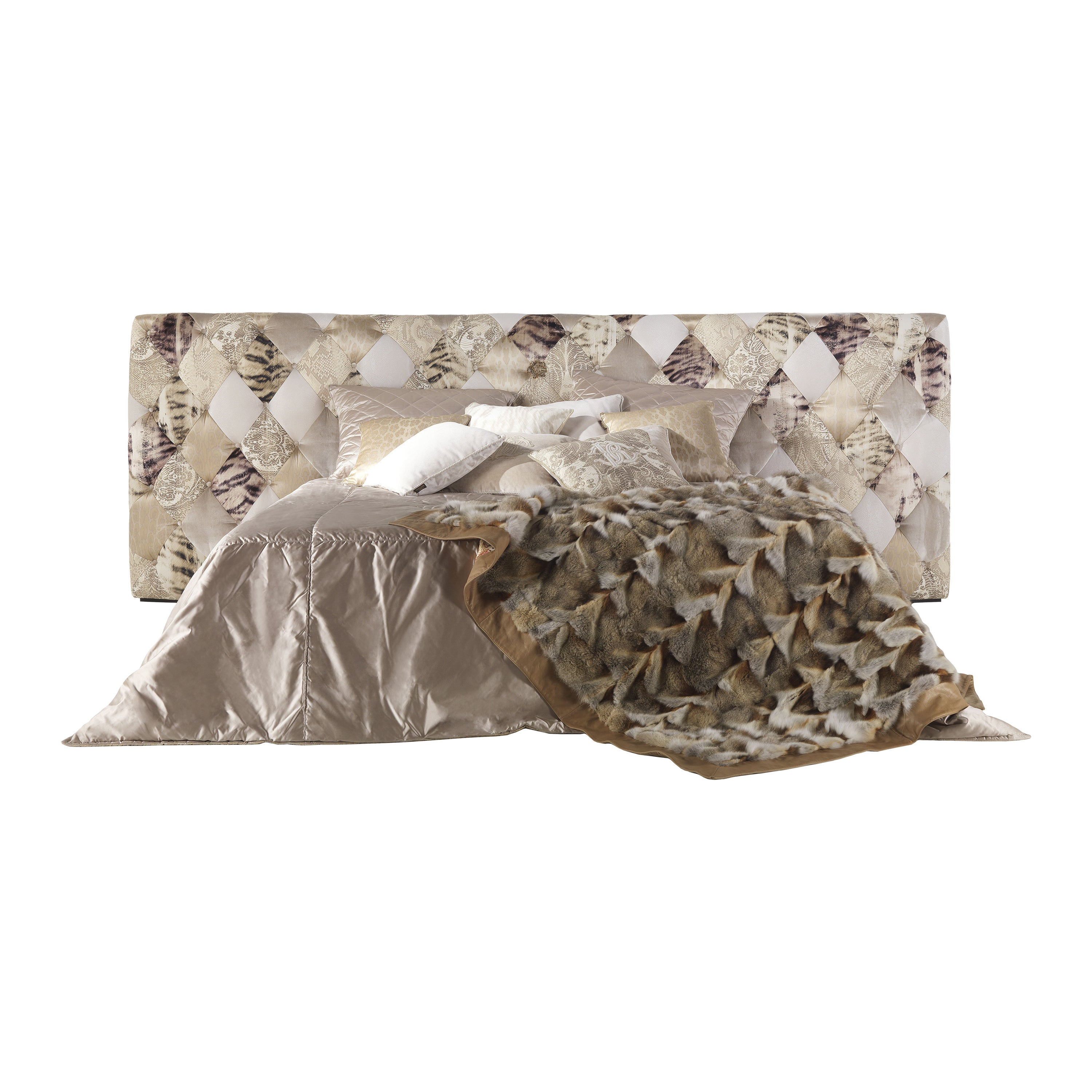 Limbo Bed in Light Patchwork Pattern by Roberto Cavalli Home Interiors