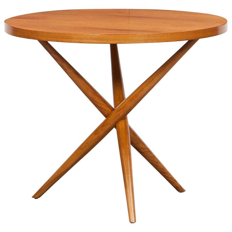 1950s Brown Walnut Side Table by T.H. Robsjohn-Gibbings 'd'