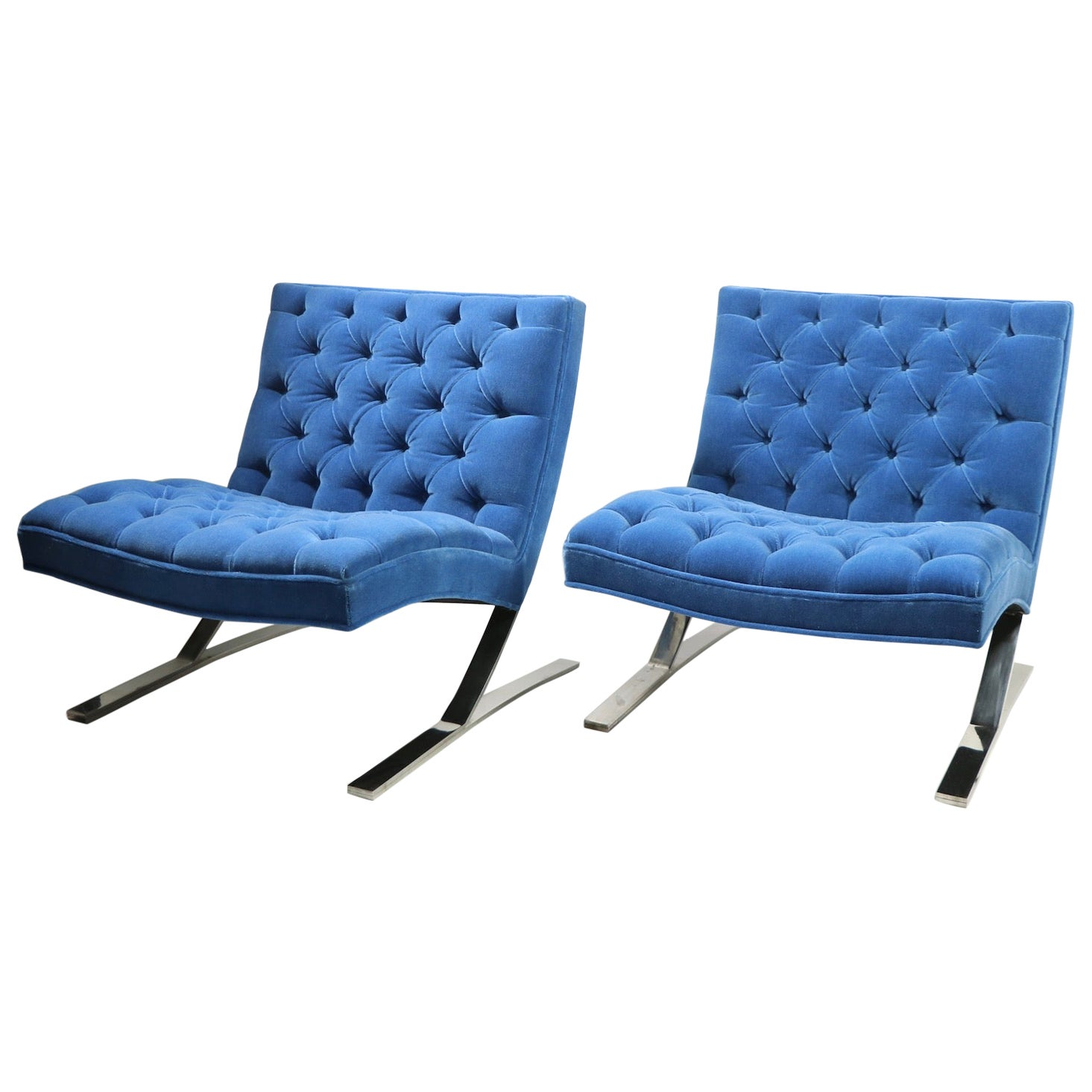 Pair of Barcelona Style Armless Lounge Chairs