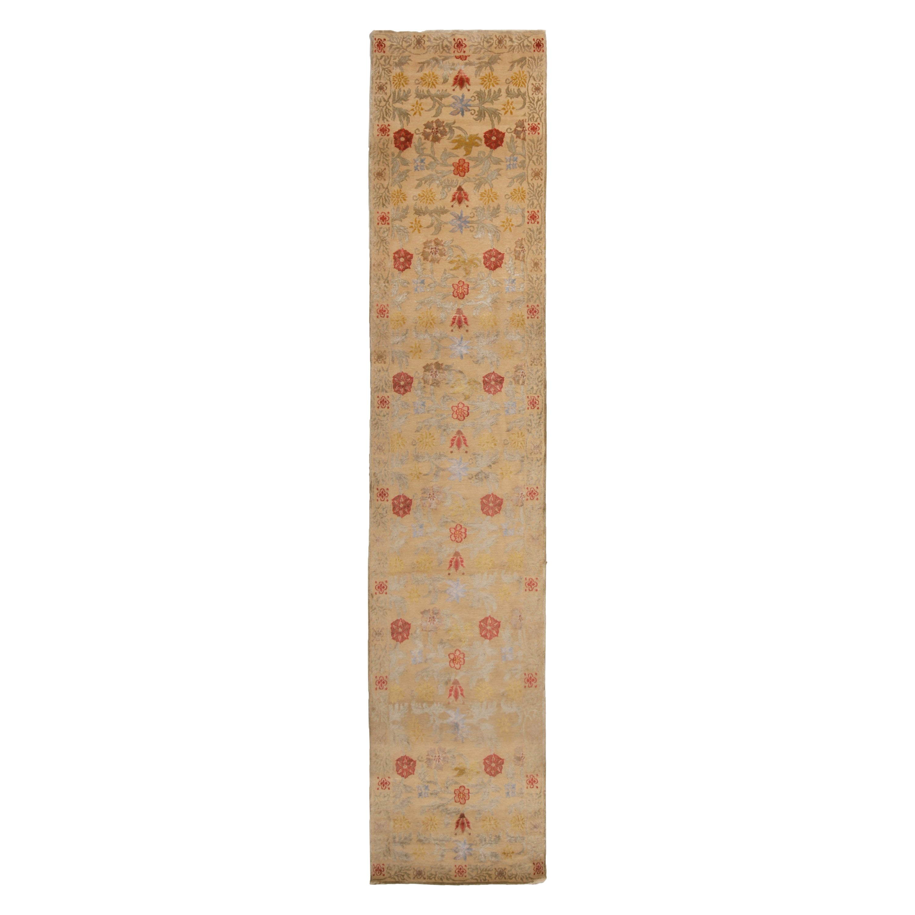 Rug and Kilim's Bilbao Spanish Design Beige Floral Wool-Silk Runner
