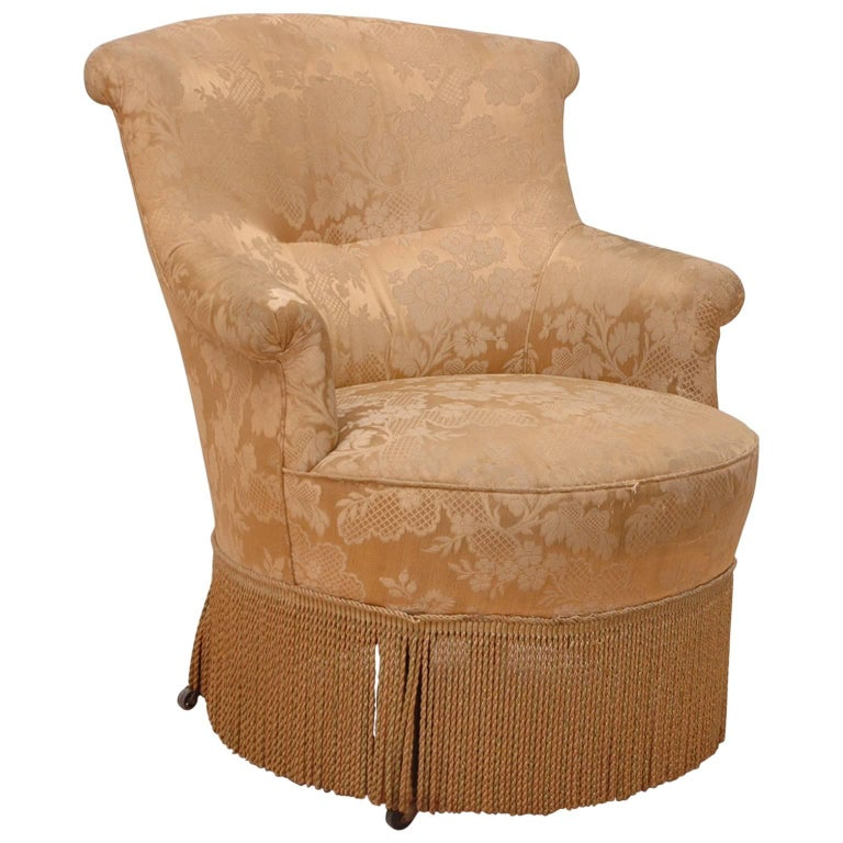 19th Century, French Napoleon III Upholstered Armchair or Slipper Chair