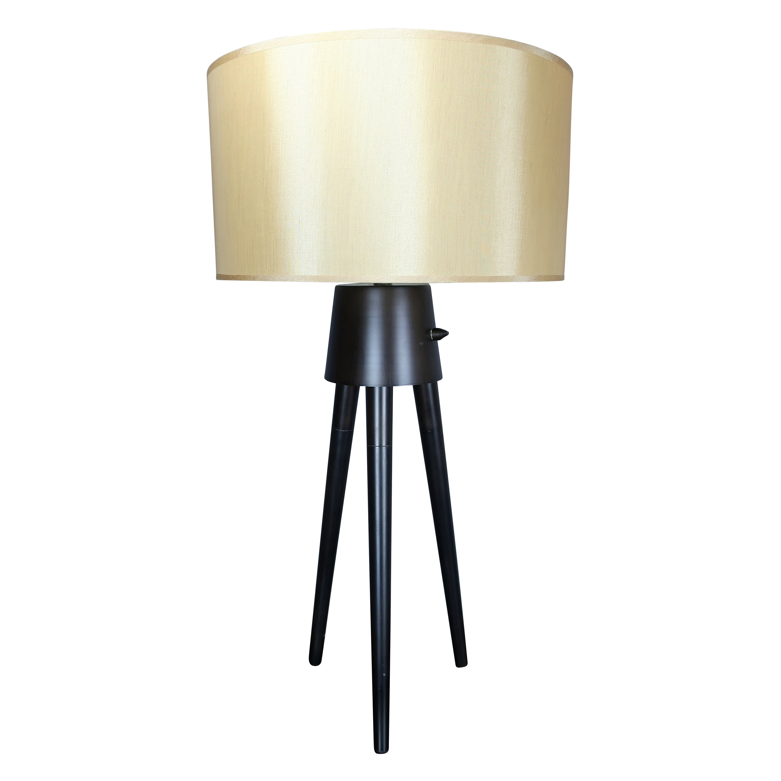 Pair of Midcentury Style Black Tripod Lamps with Champagne Shades