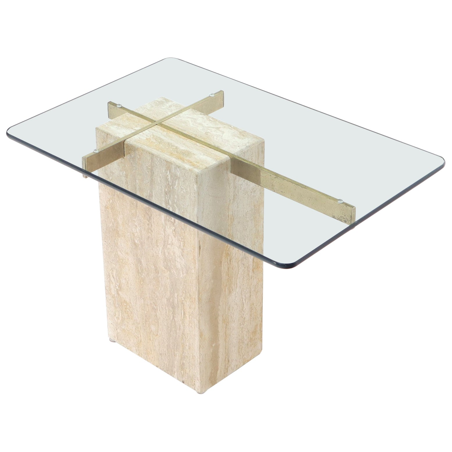 Travertine Base Glass Top Mid-Century Modern Side Table