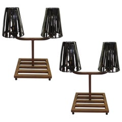 Pair of French Mid-Century Modern Industrial Table Lamps in Style Jean Prouvé